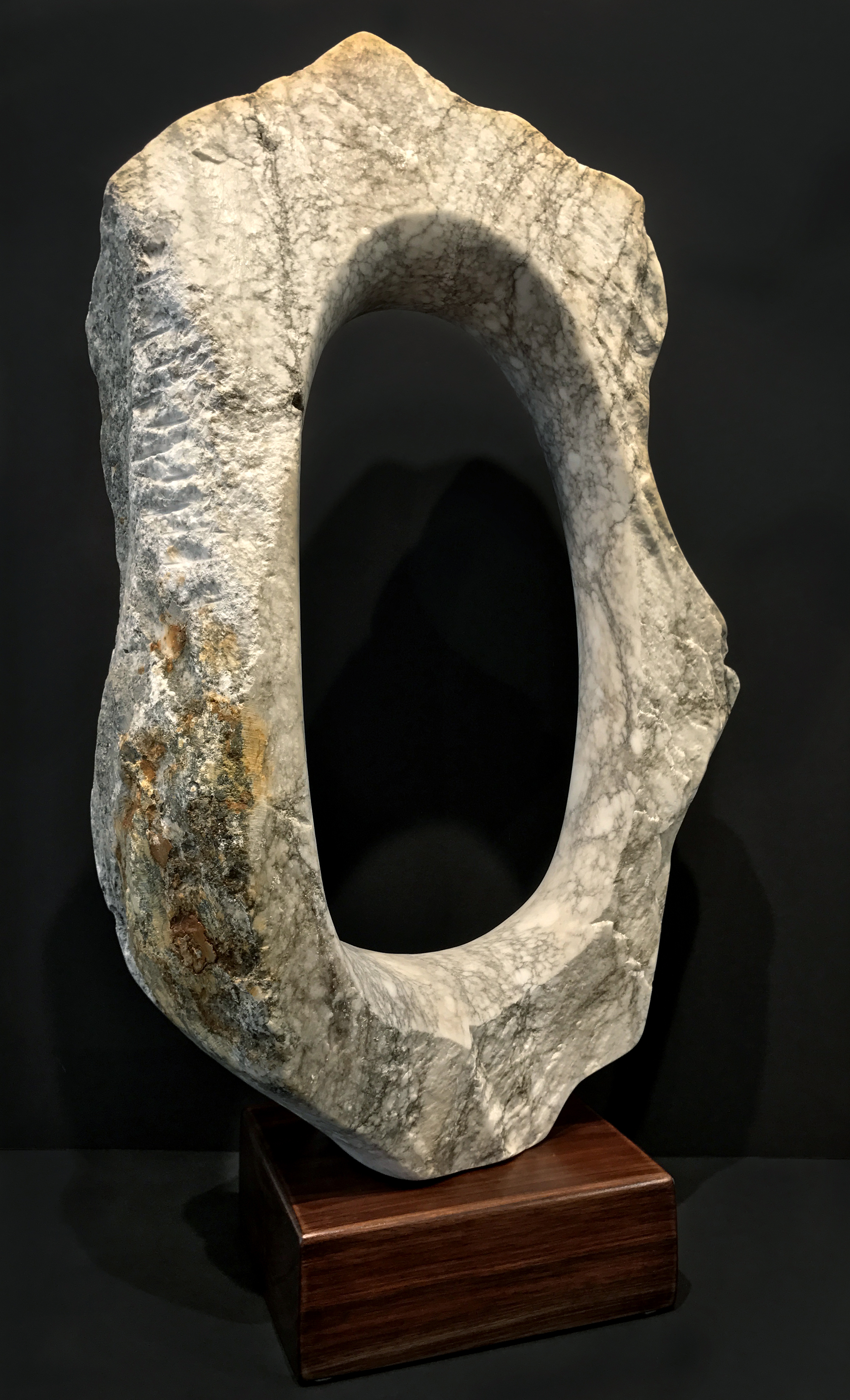 """Halo, View 1  Alabaster  27"""" x 16"""" x 7"""" on base"""