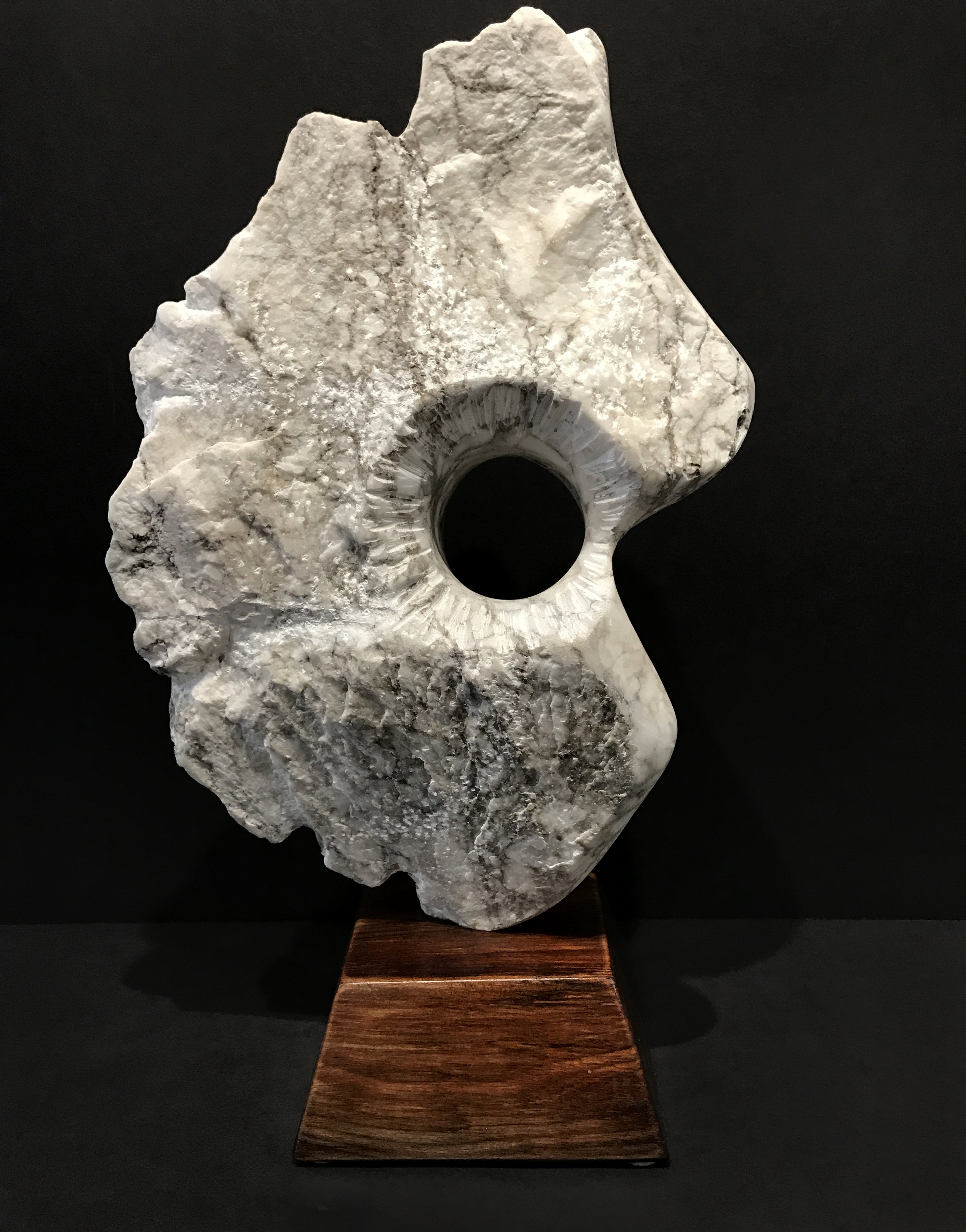 """Touch, View 1  Alabaster  17"""" x 10"""" x 7"""" on base"""