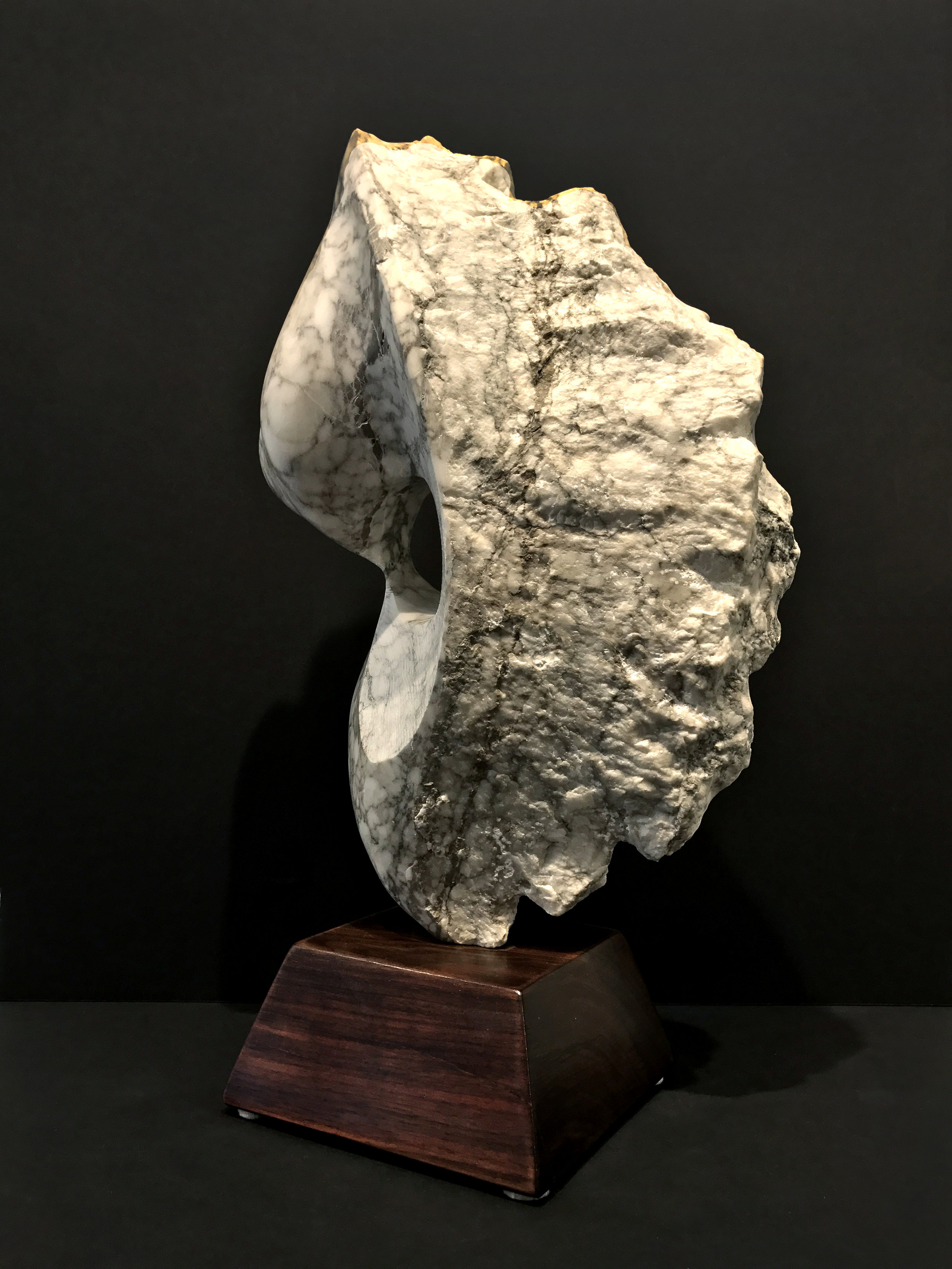 """Touch, View 2  Alabaster  17"""" x 10"""" x 7"""" on base"""