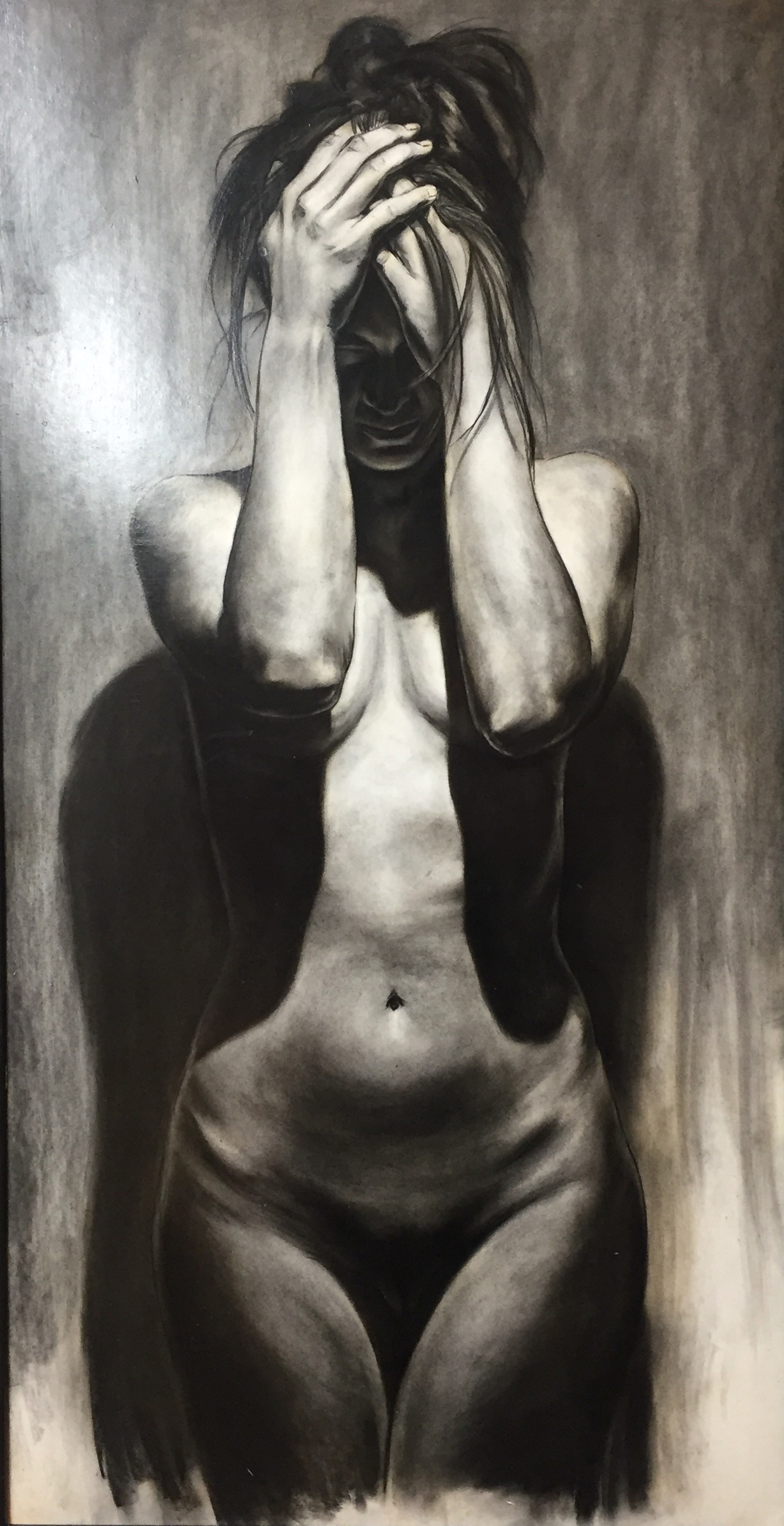 "According to Light and Gravity E  Charcoal on paper  46"" x 24"""