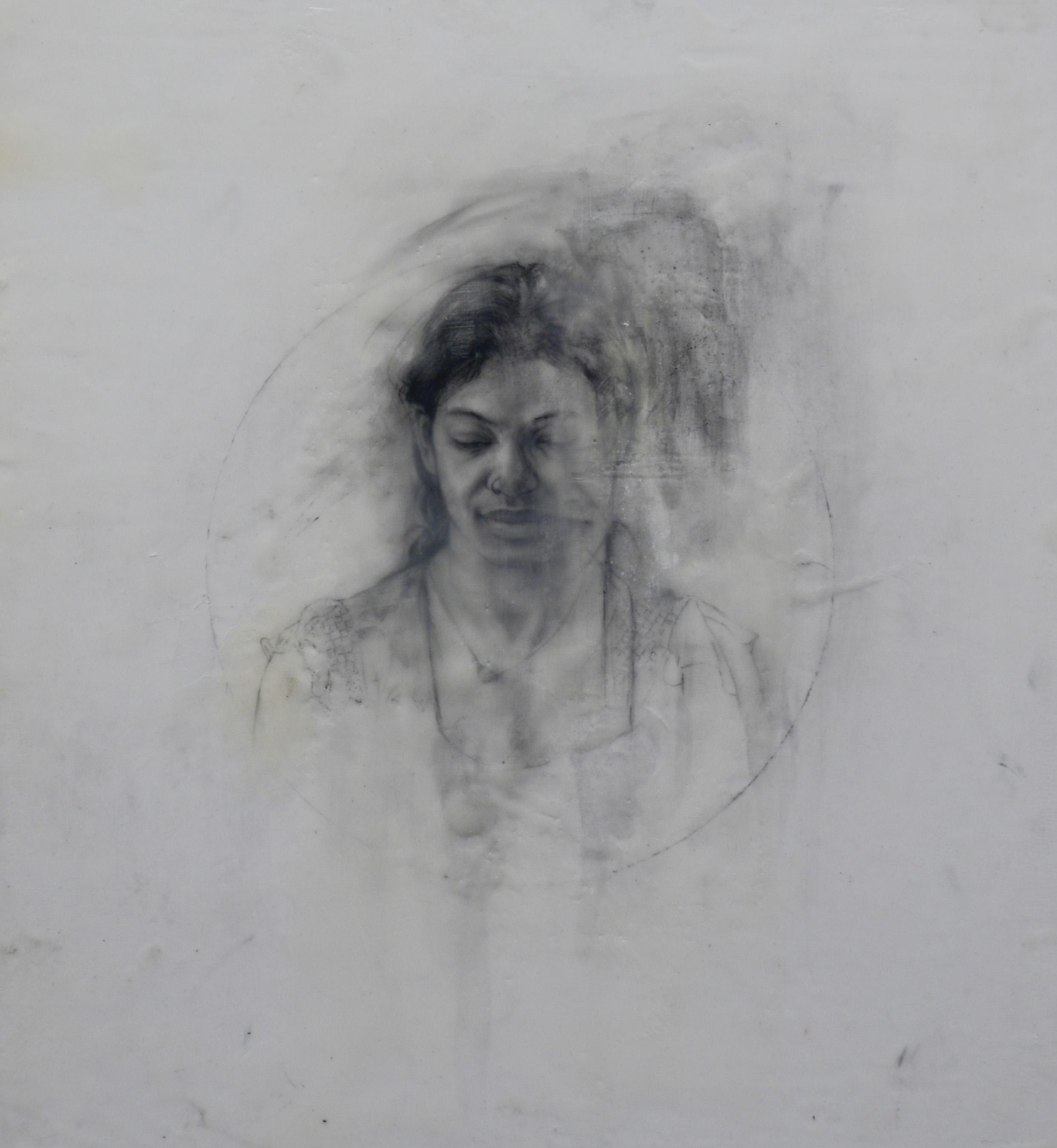 "100 Days of Portraits  Mixed media on mylar  16"" x 15"""