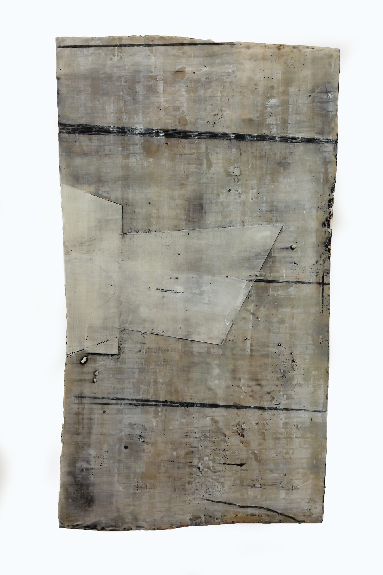 """Inland Steel L2  Encaustic & oil on shaped panel  40"""" x 26"""""""
