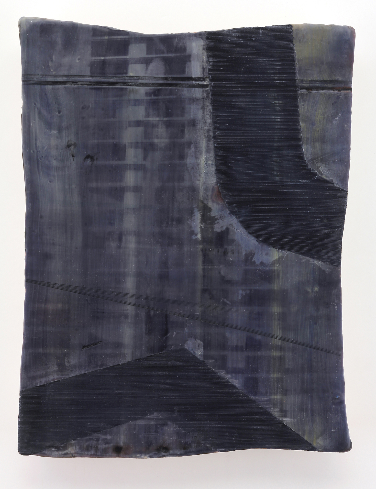 """Inland Steel No. 7  Encaustic & oil on shaped panel  17"""" x 14"""""""