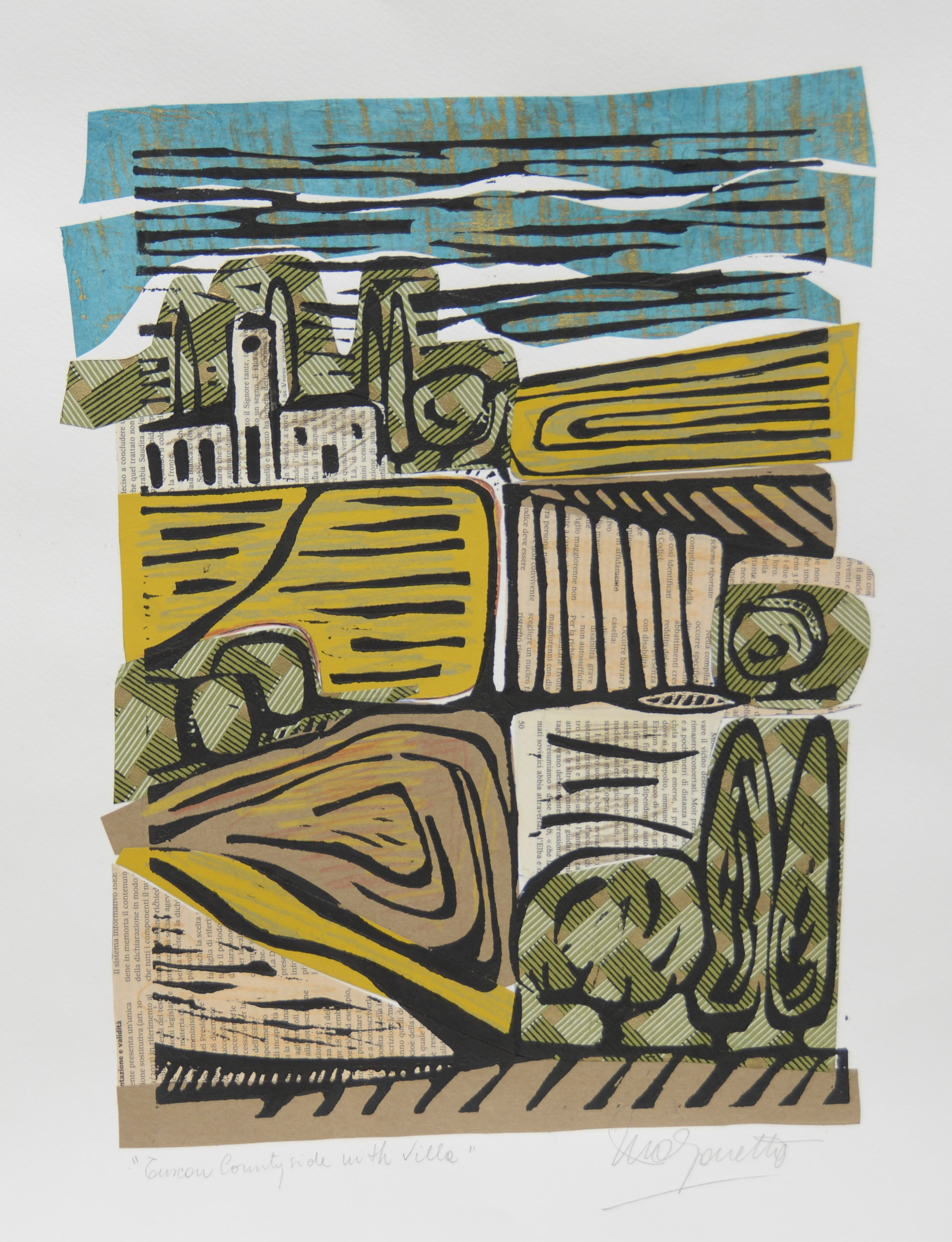 """Tuscan Countryside with Villa II  Mixed Media on Paper  24"""" x 18"""""""