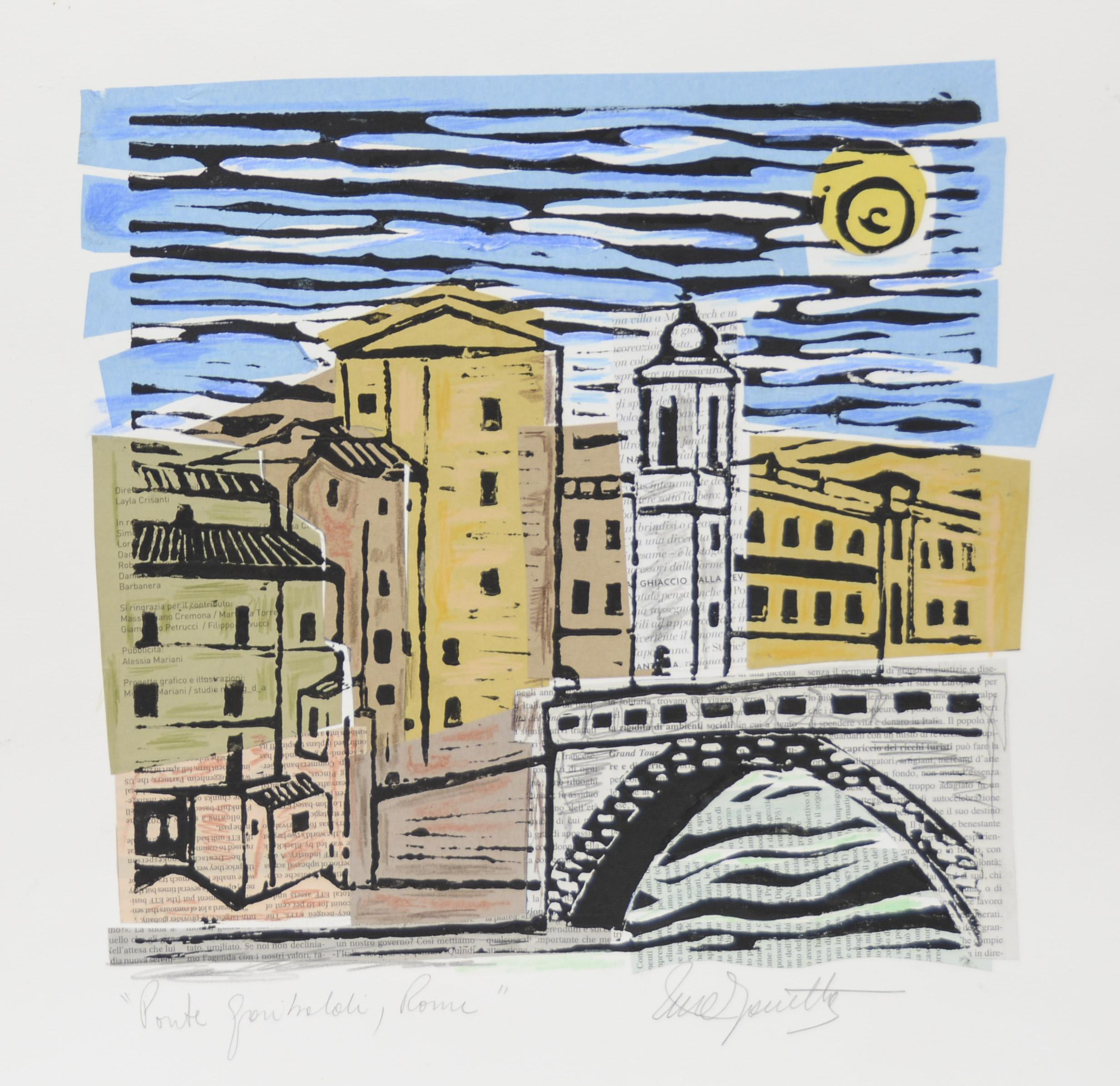 "Ponte Garibaldi, Rome I  Mixed Media on Paper  18"" x 18"""