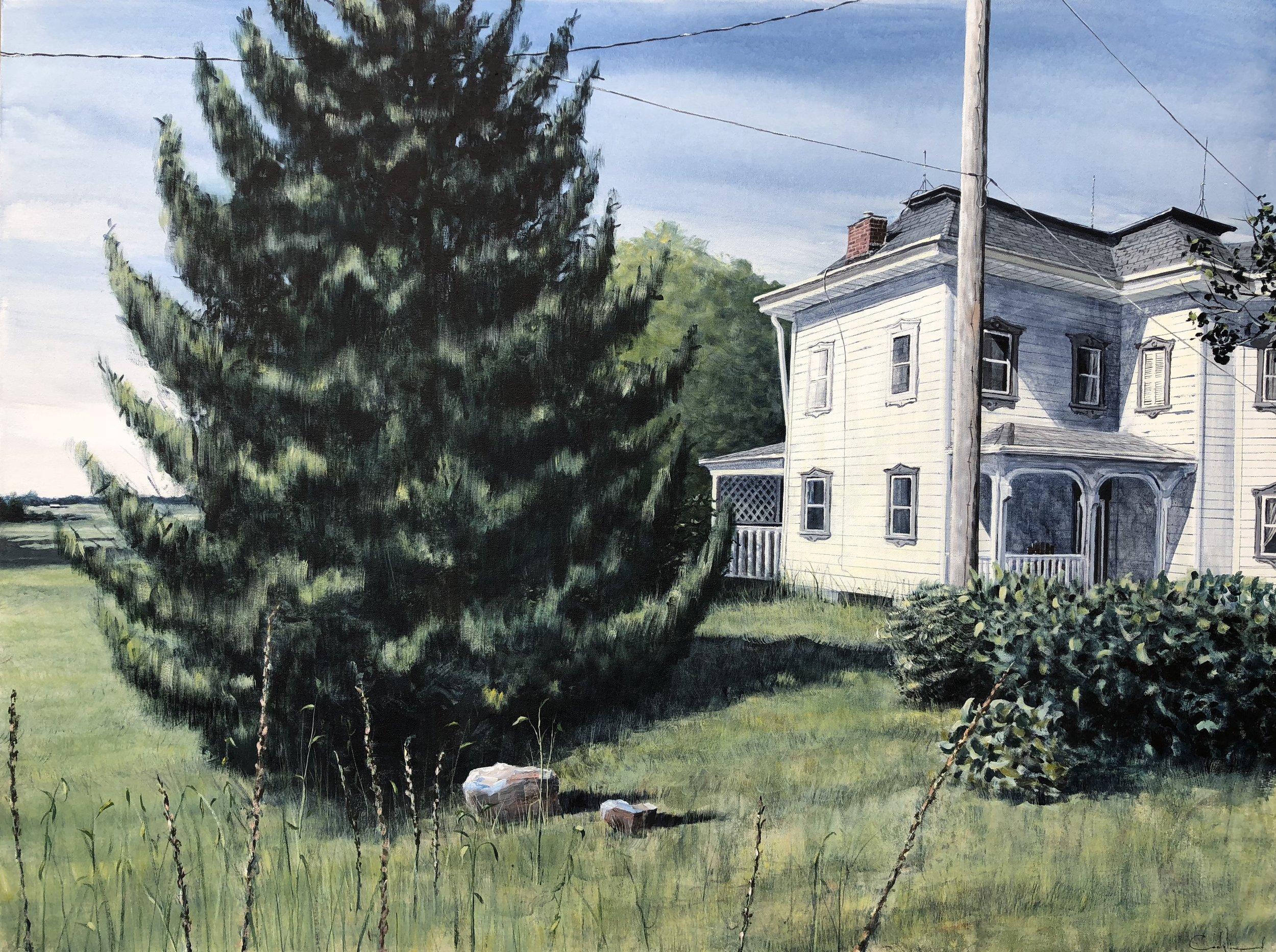"House Off Elyria Road  Acrylic on canvas  Framed, 36.75"" x 48.75"""