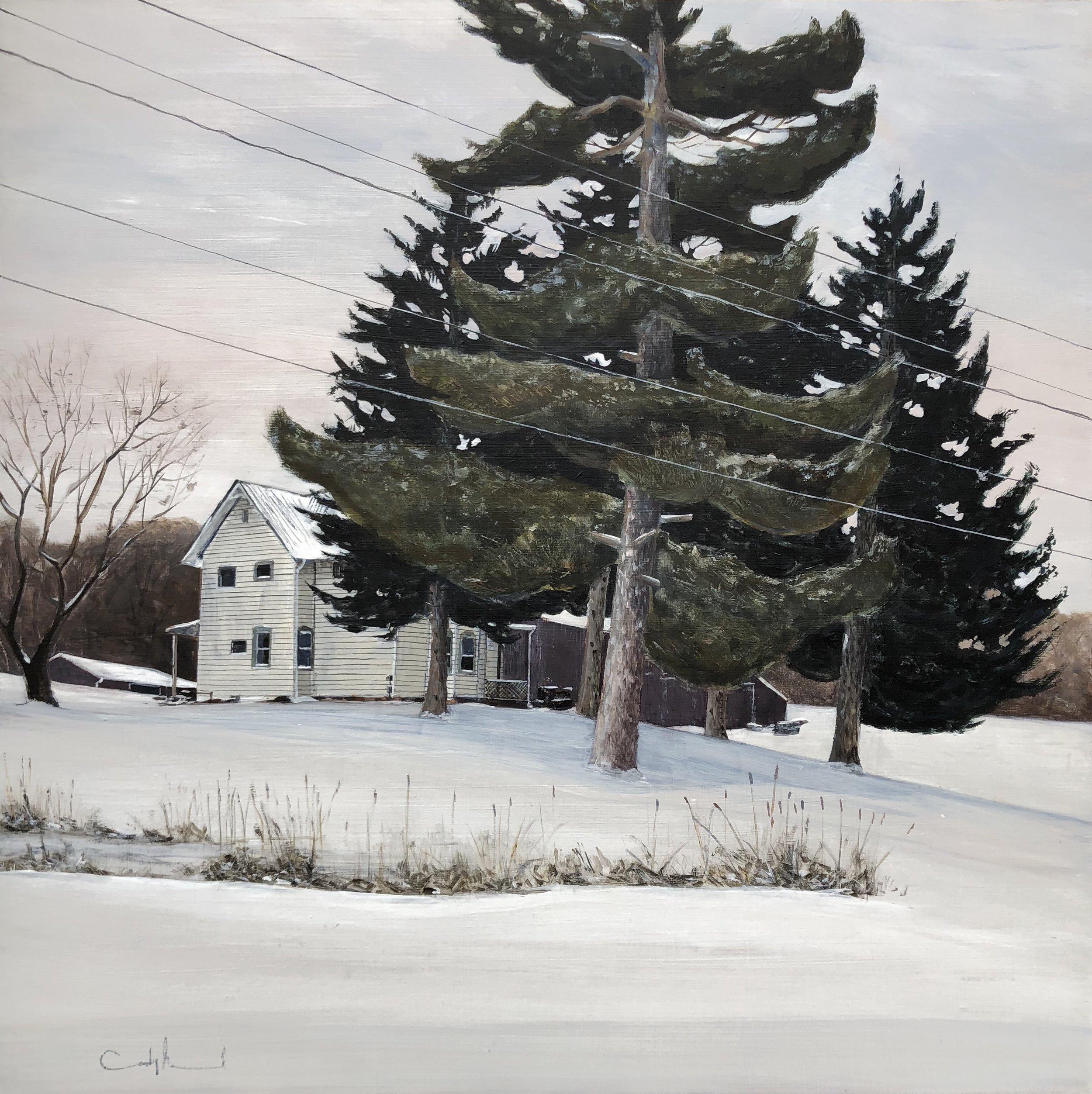 """House Outside of Shreve  Acrylic on panel  Framed, 25.5"""" x 25.5"""""""