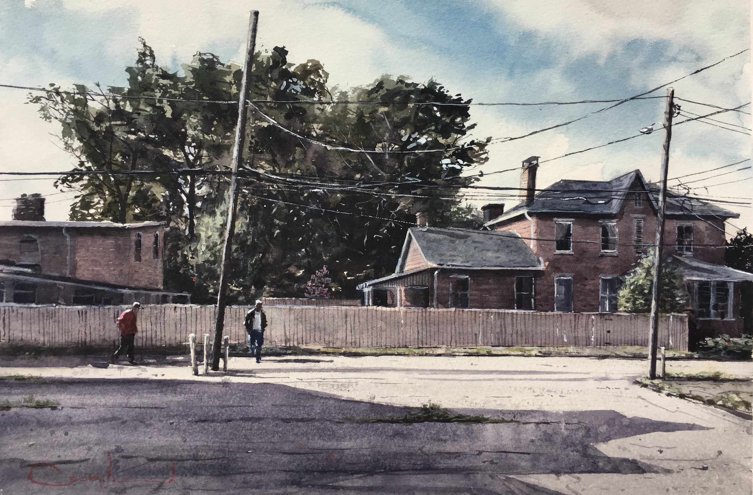 """East Cherry Street  Watercolor on paper  Framed, 18"""" x 22.5"""""""