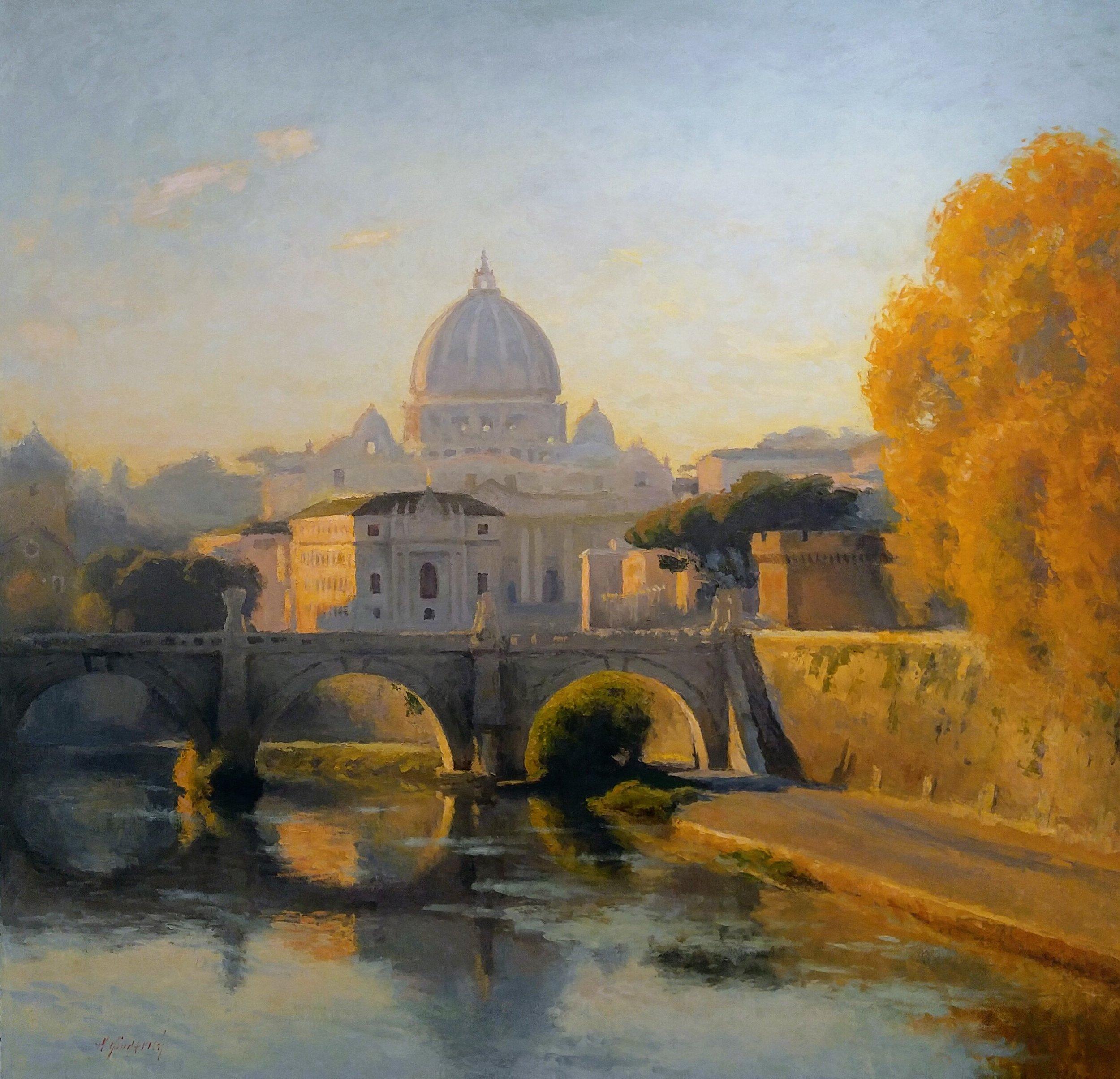 "Vatican City  Oil on linen  Framed, 71.25"" x 71.25"""