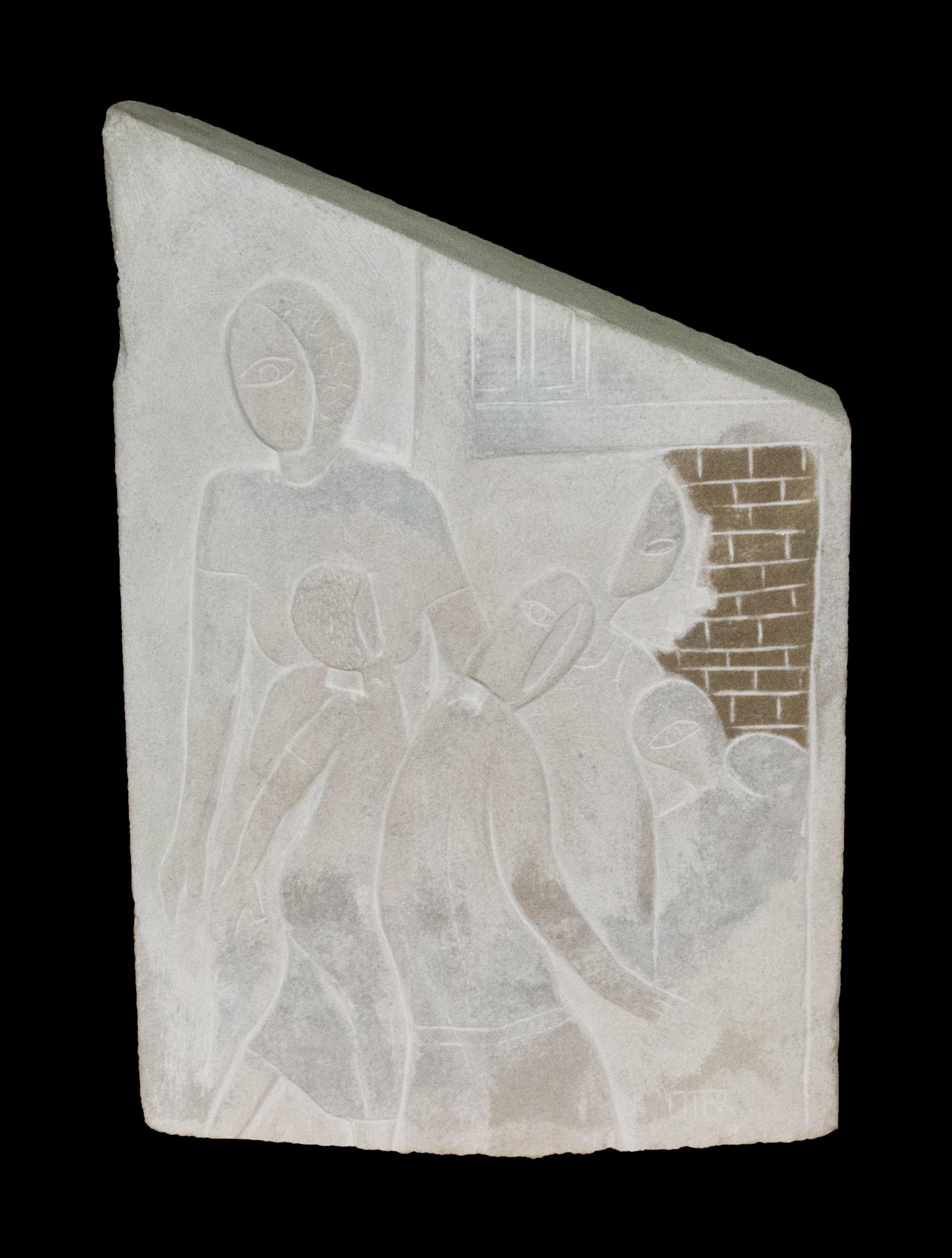 "Family Relief  Limestone  19"" x 13"" x 4"""