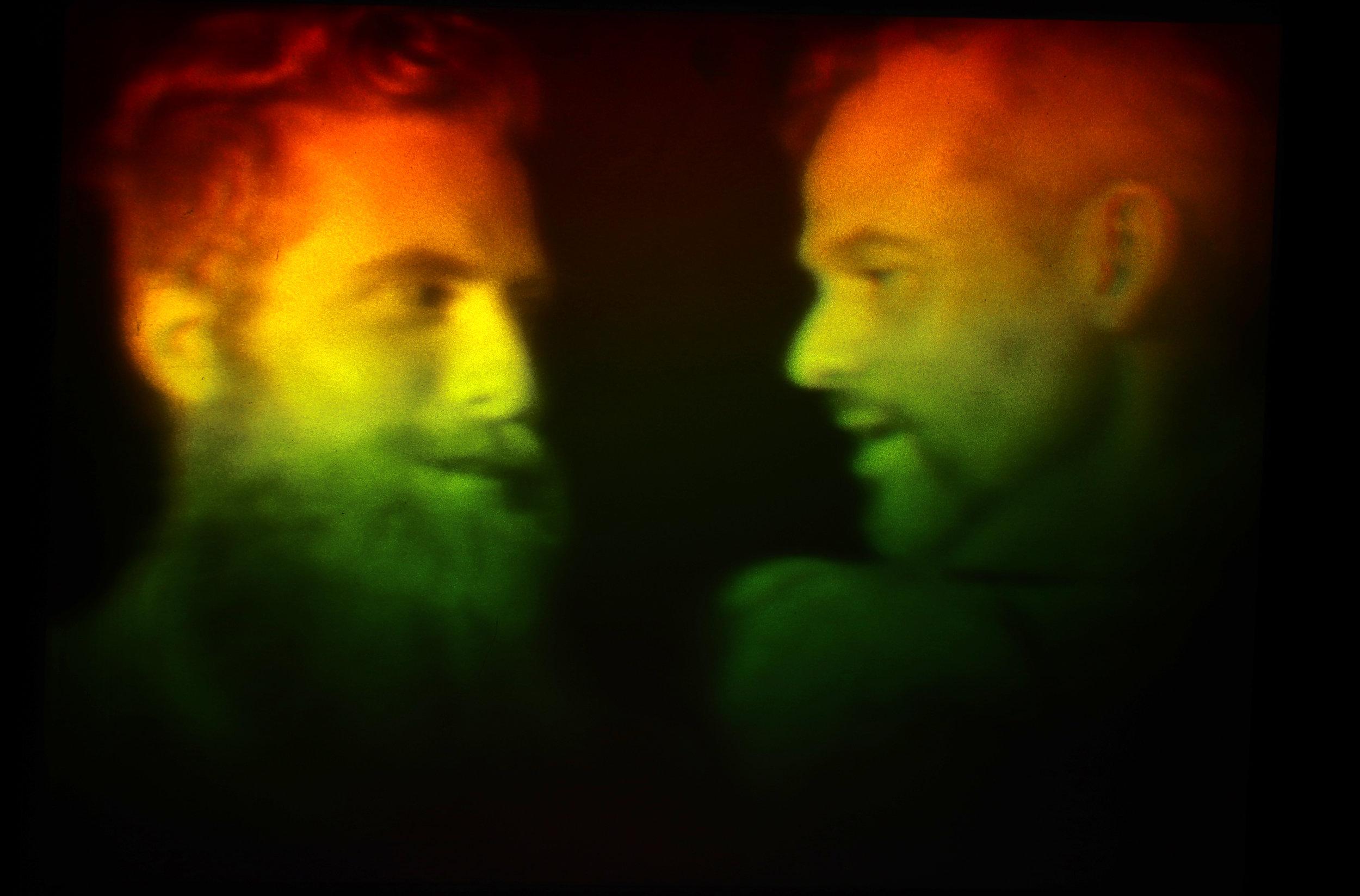 "Rainbow transfer hologram on glass mirror  11"" x 14"""