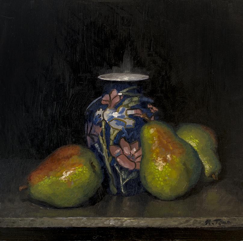 """Pears  Oil on panel  12"""" x  12"""""""