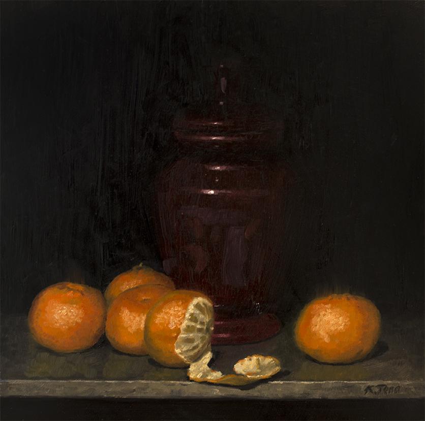 """Oranges  Oil on panel  12' x  12"""""""