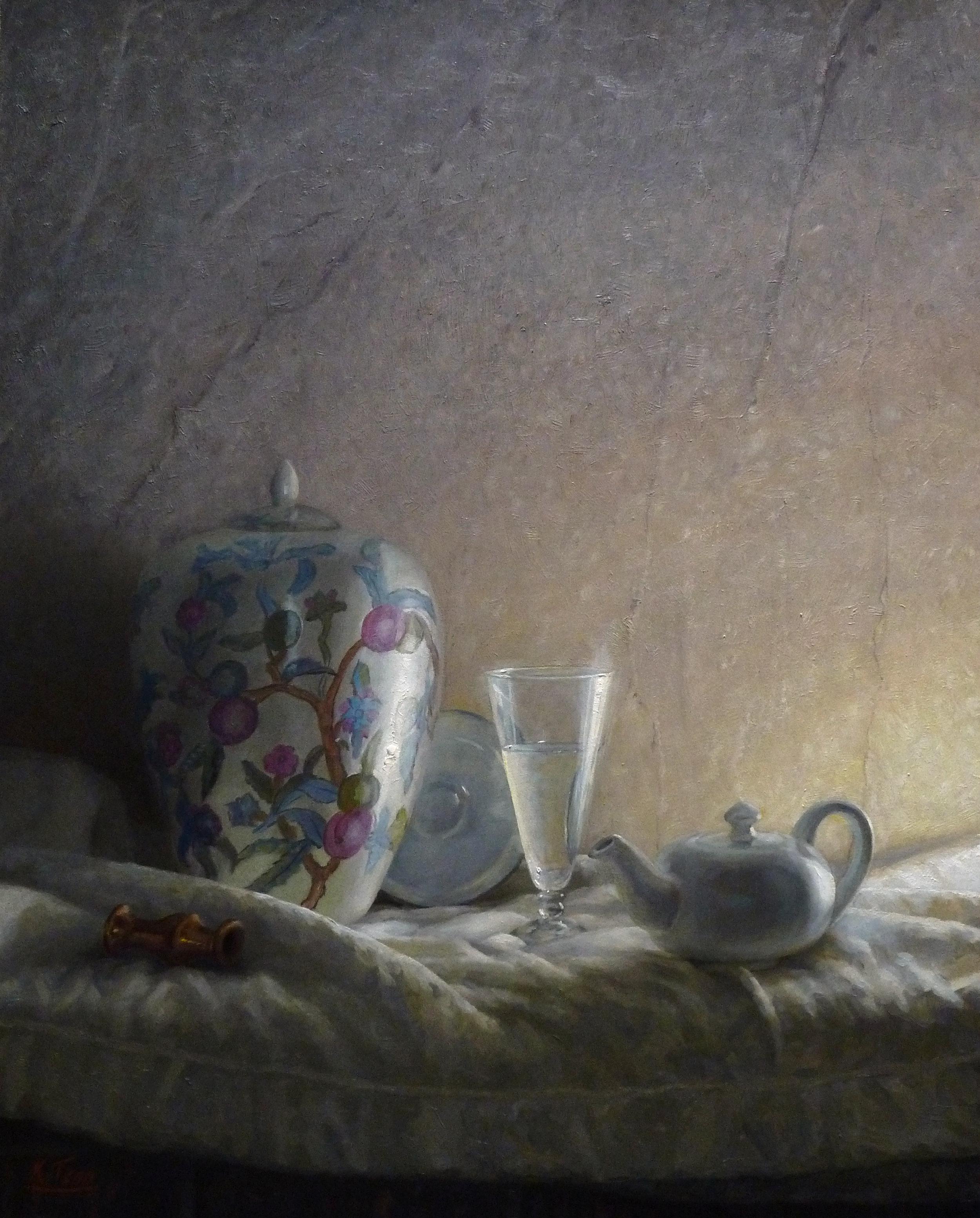 """White Still Life  Oil on panel  35"""" x 30"""""""