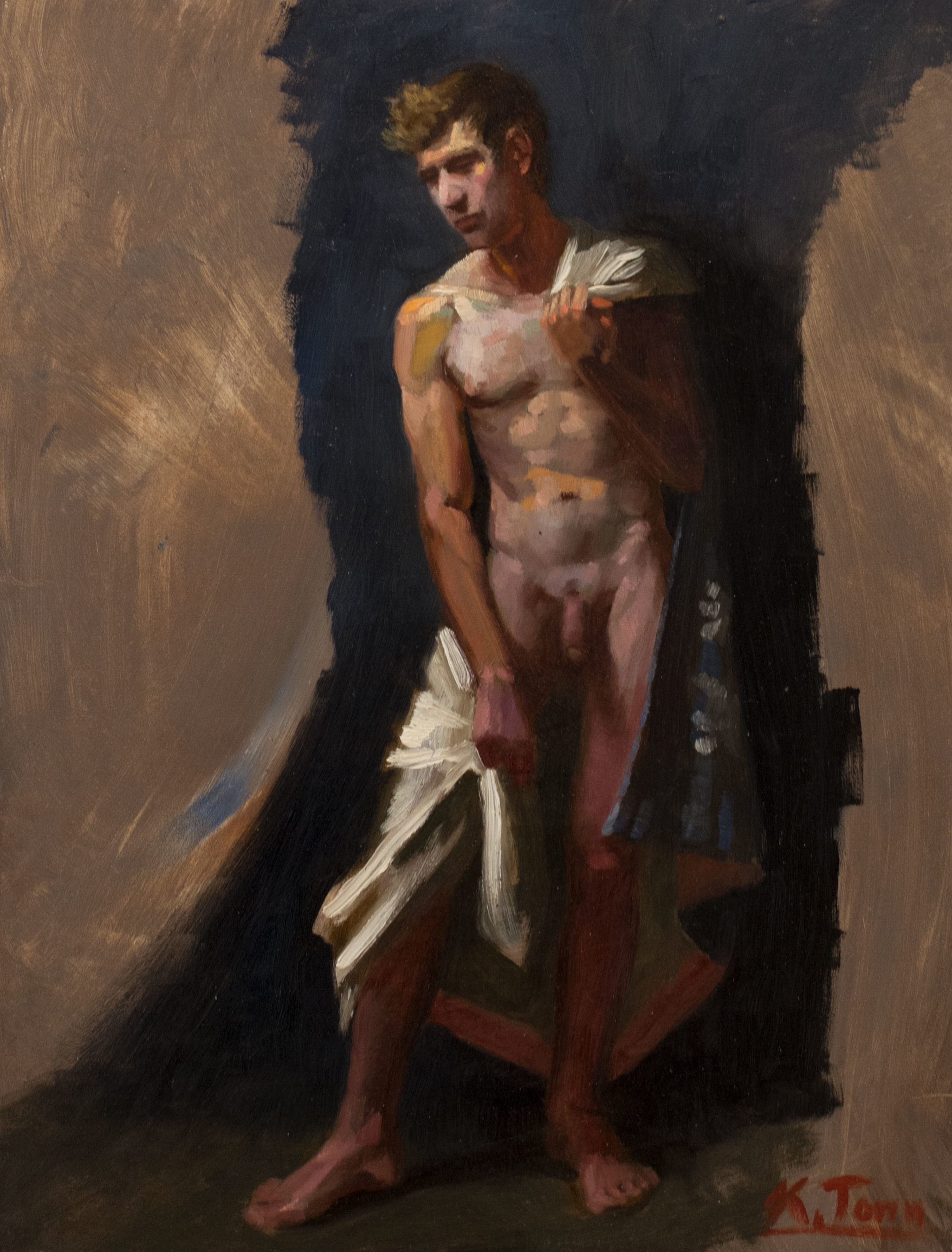 "Standing Nude (White)  Oil on panel  14"" x  11"""