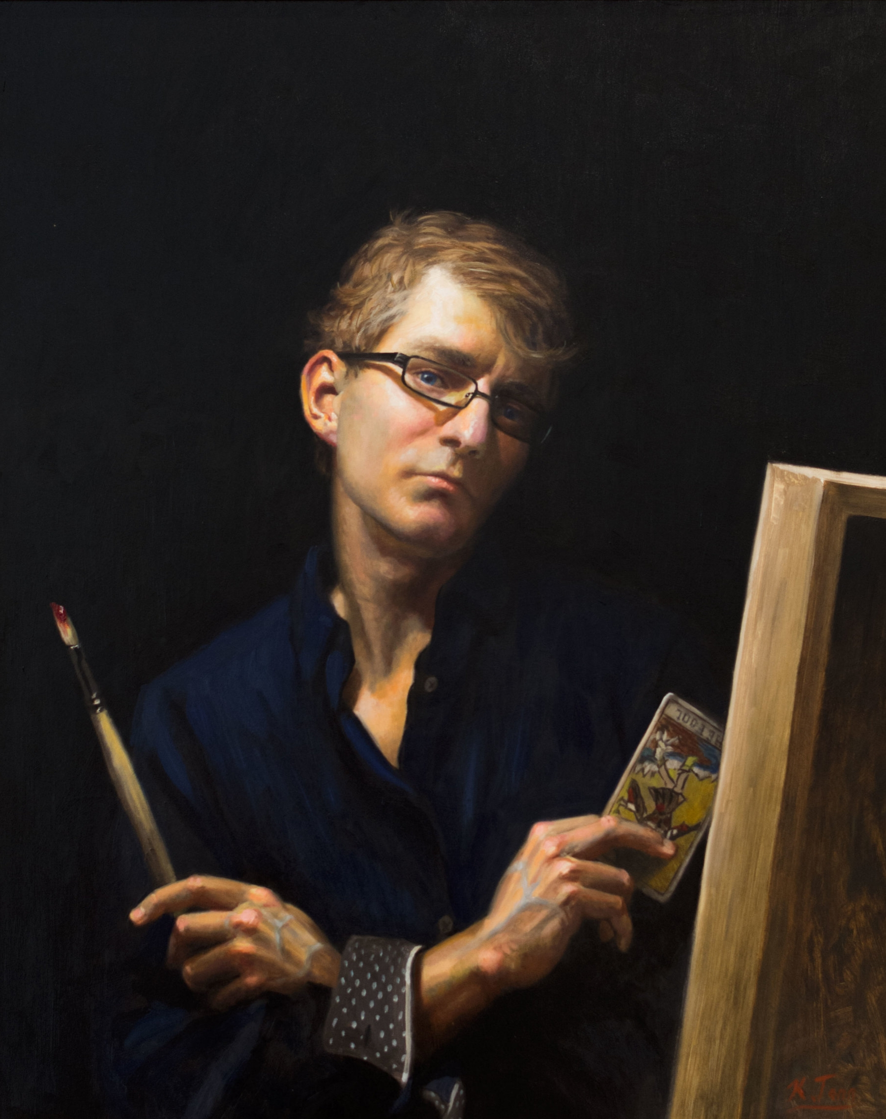 "Self Portrait  Oil on panel  35"" x  25"""