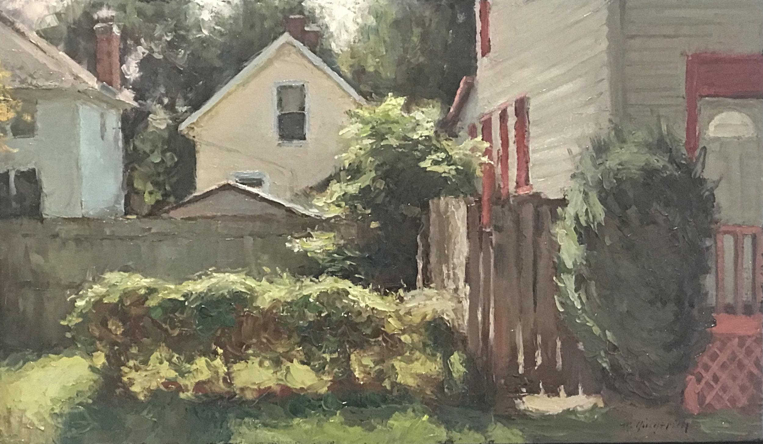 "German Village   Oil on canvas  21"" x 31"" framed"