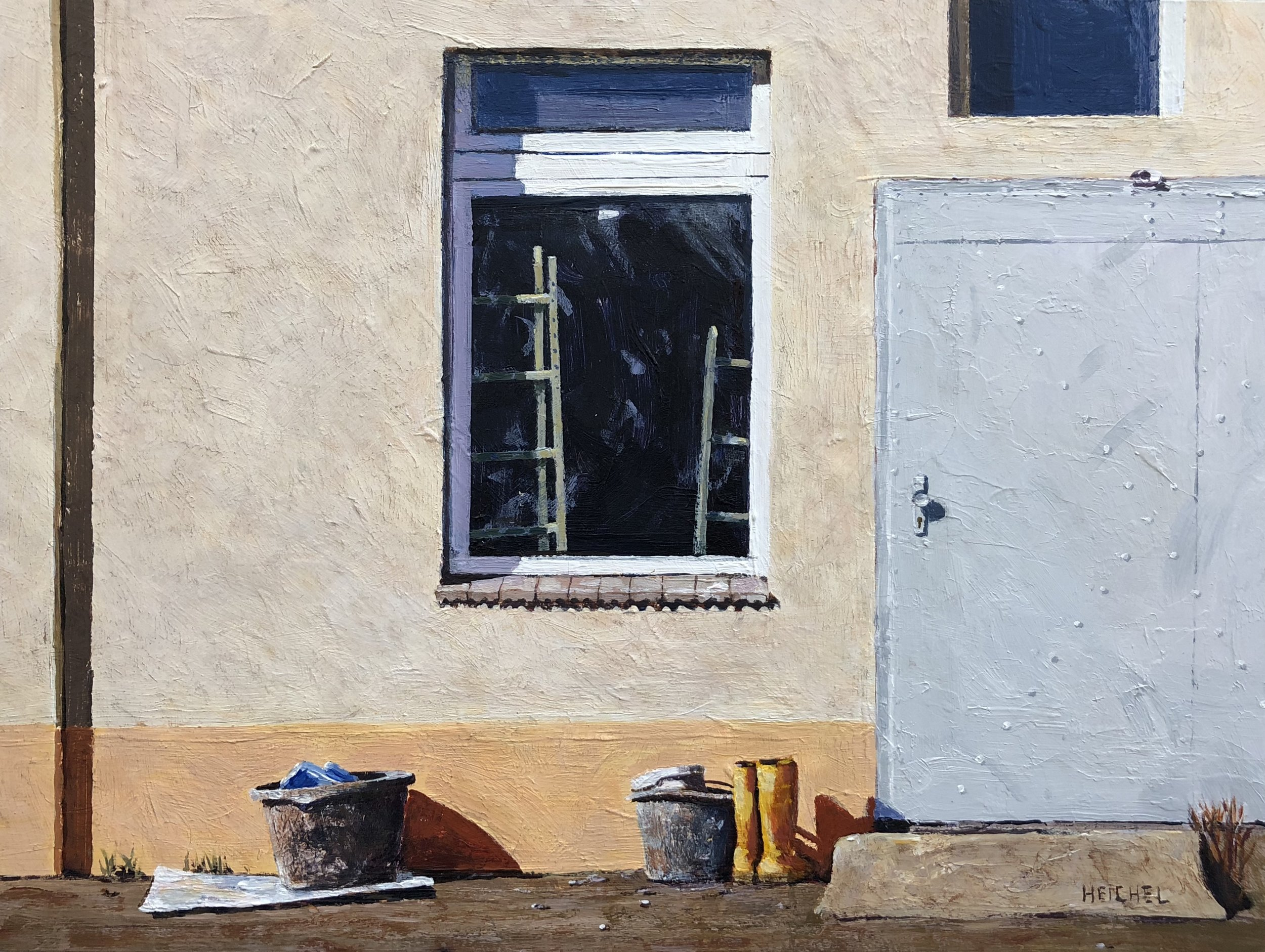 "Dresden Window lV  Acrylic on panel  9"" x 12"""