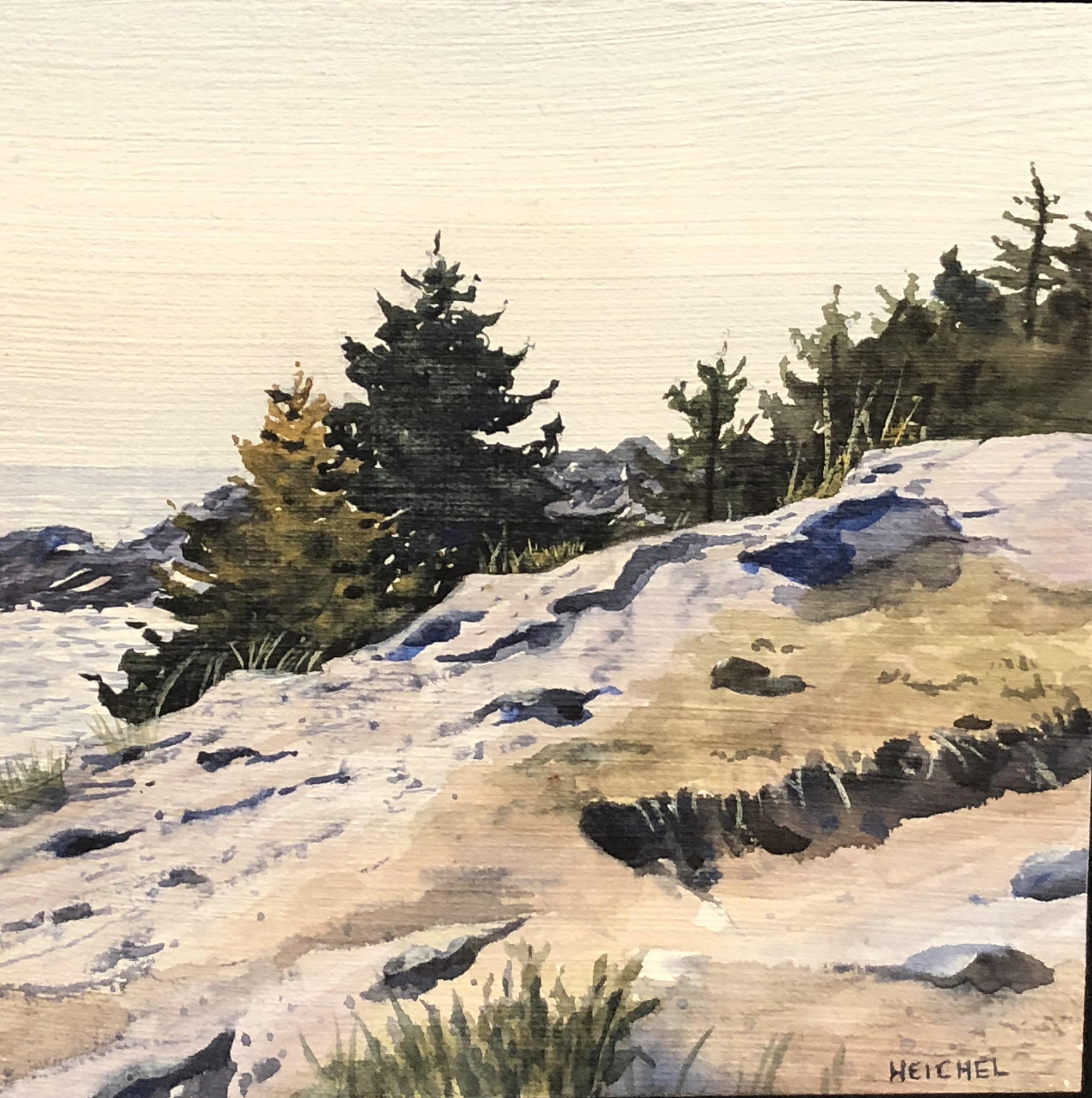 "Monhegan Cliffs l  Acrylic on panel  6"" x 6"""