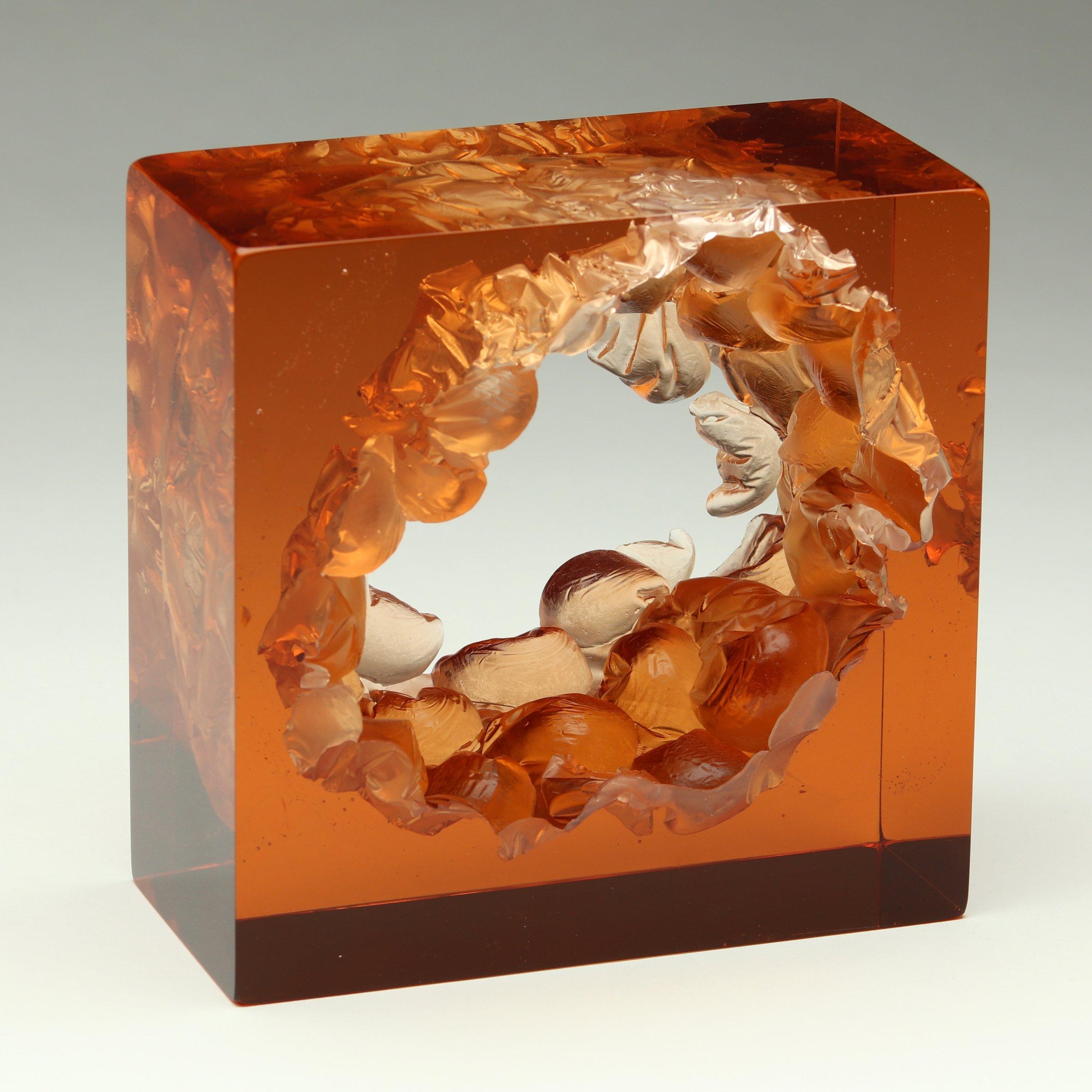 "Peach Bubble Wrap Cube  Kiln cast glass  5"" x 5"" x 3"""
