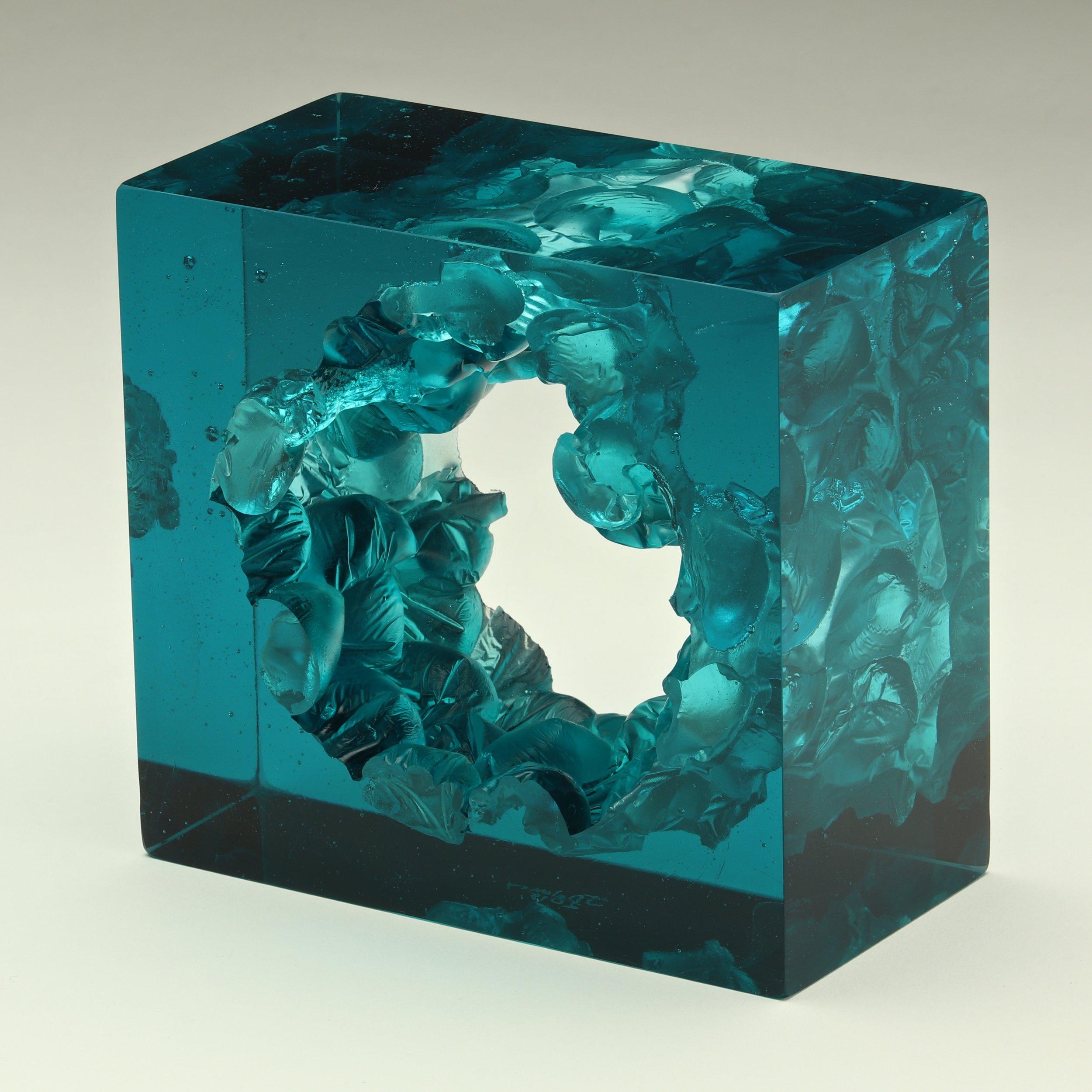"Aquamarine Cube  Cut Glass  6"" x  5"" x  3"""