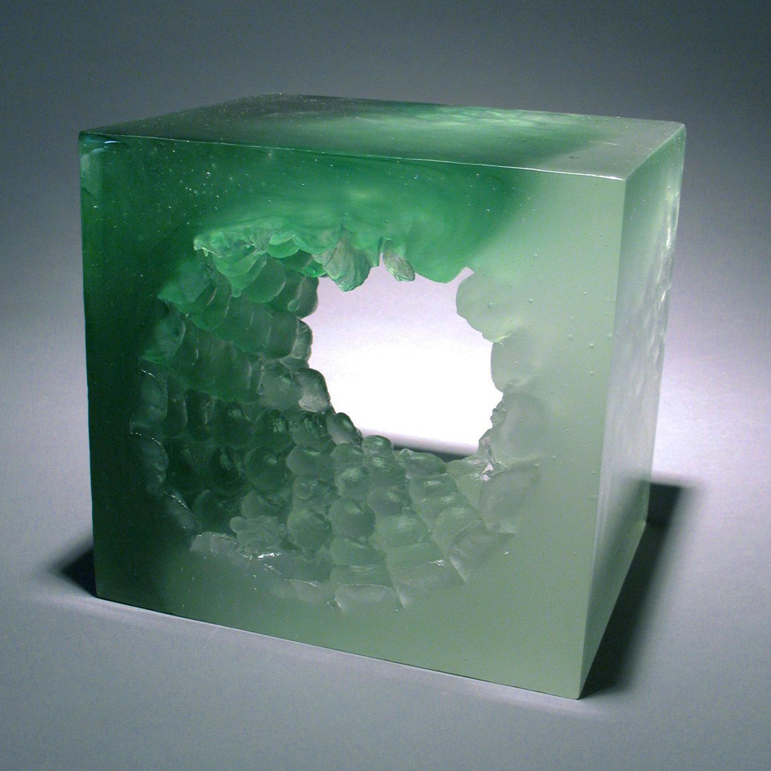 """Bubble Wrap Vortex  Cast glass  9"""" x 9"""" x 7.5"""""""