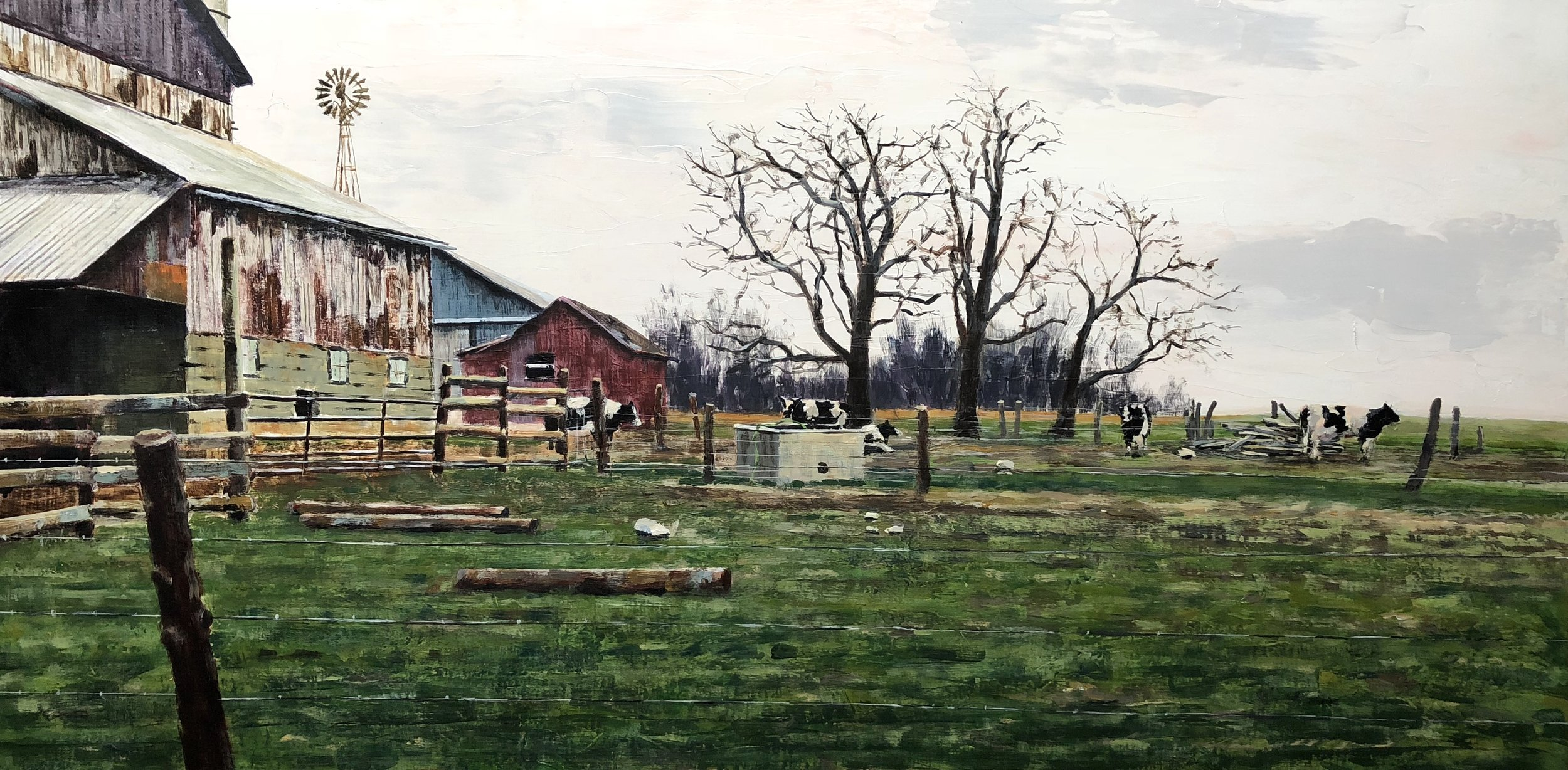 "Rural Ohio I  Acrylic on panel  17.5"" x 29.5"""