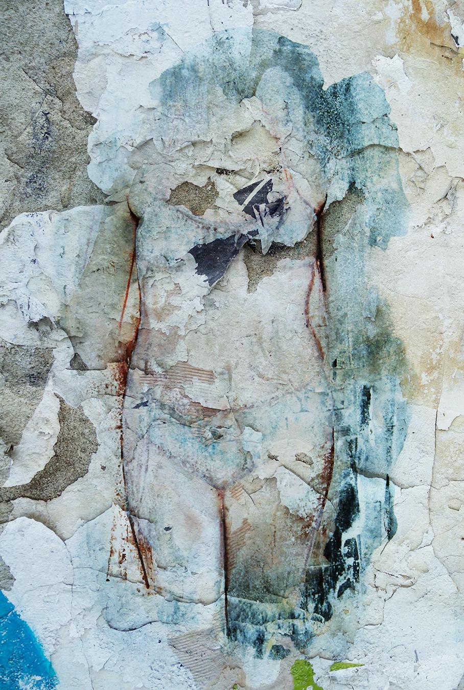 "Susan Moore  Figure 01  Collage  15"" x 12"" Framed"