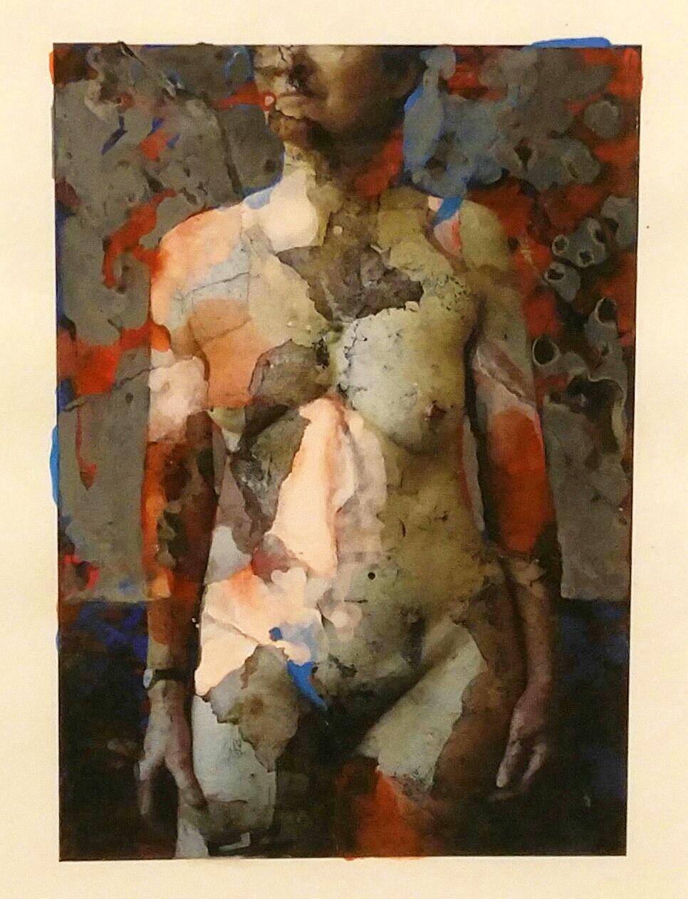 "Susan Moore  Figure 03  Collage  15"" x 12"" Framed"