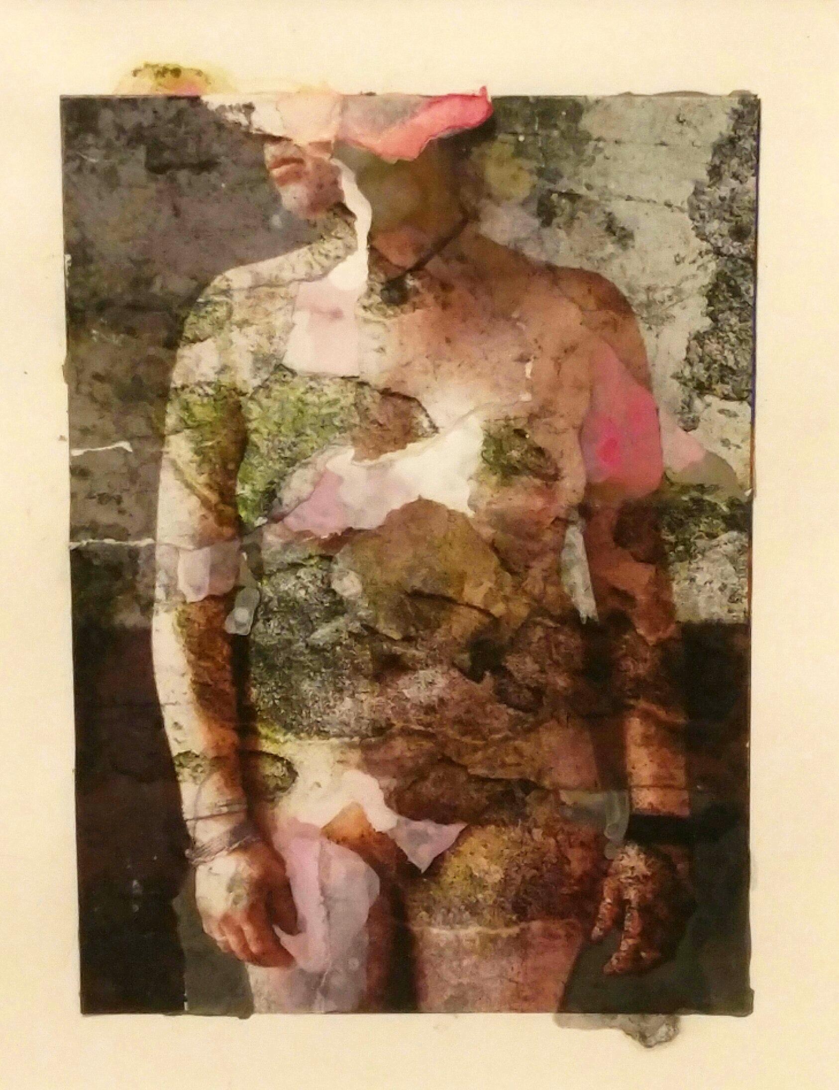 "Susan Moore  Figure 02  Collage  15"" x 12"" Framed"