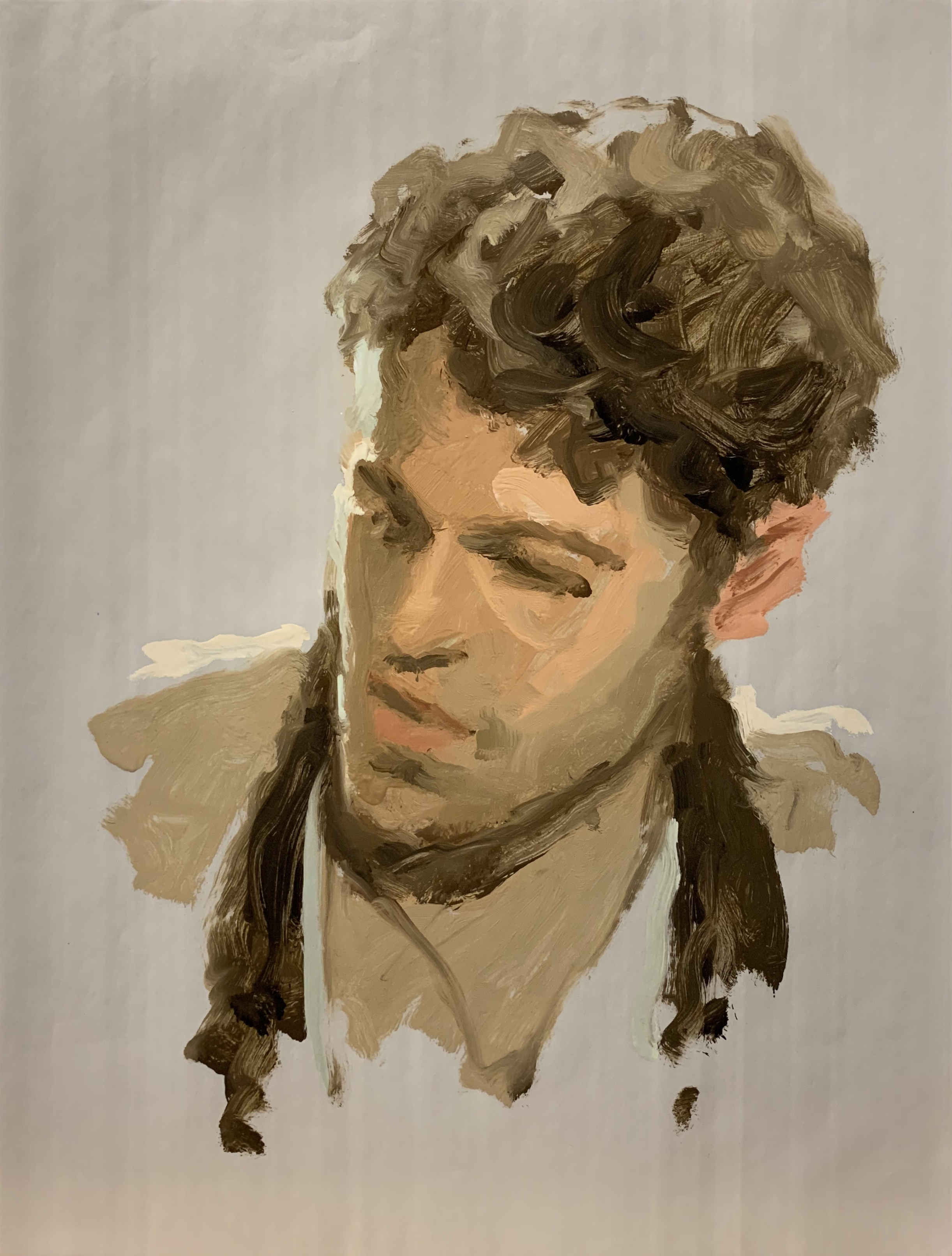 """Terry Rodgers  David  Oil on paper  21.5"""" x 17.5"""" framed"""
