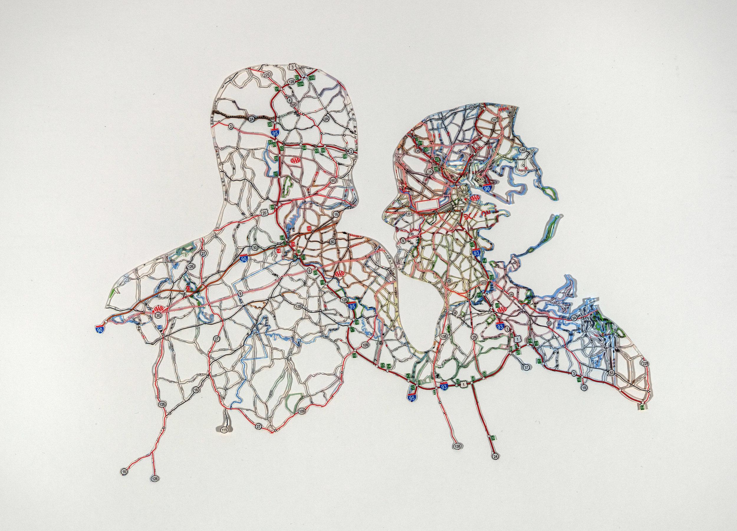 "Nikki Rosato  Couple, Boston, MA  Hand-cut road map  11"" x 14"""