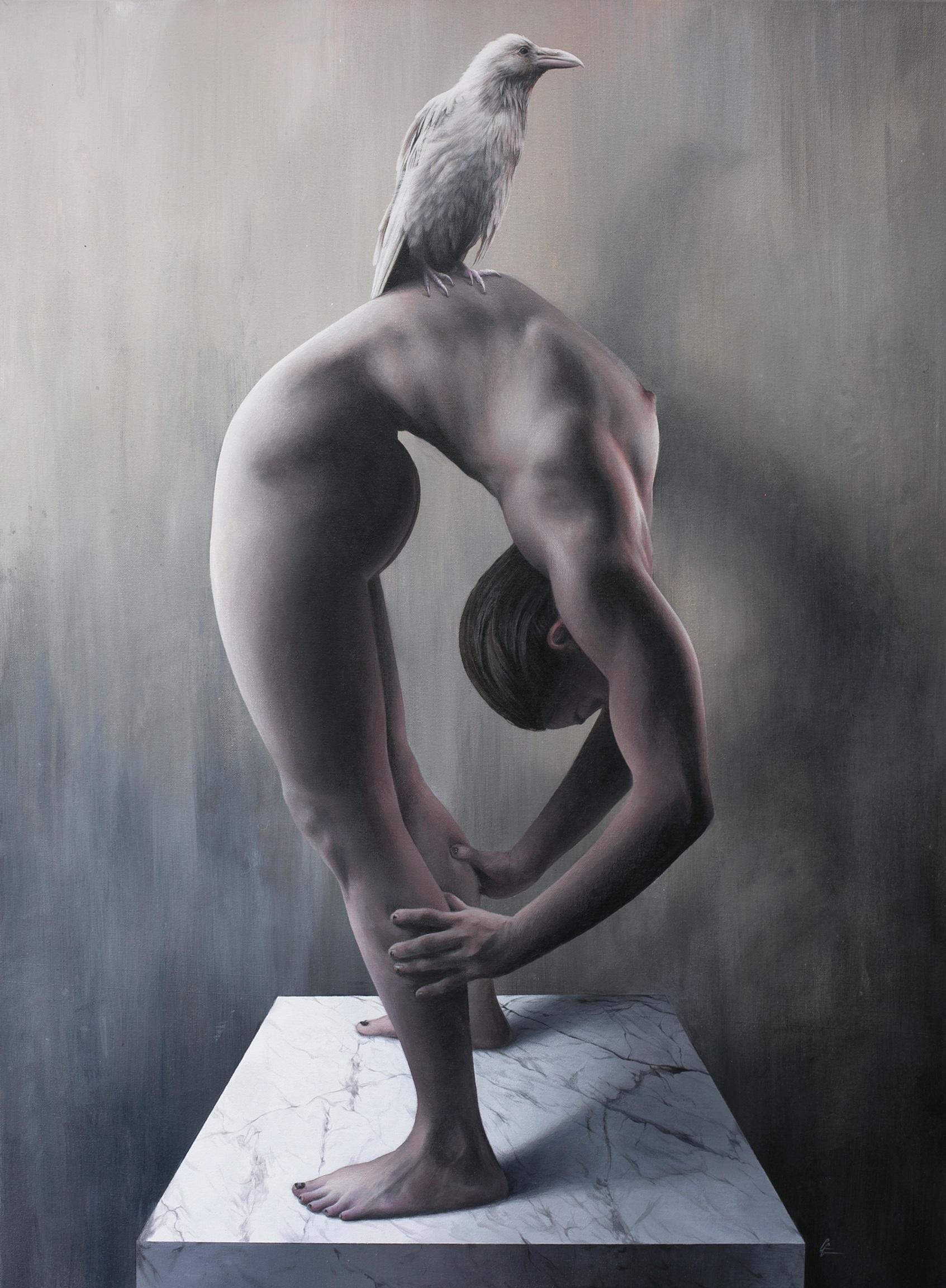 "Grant Gilsdorf  Bending Over Backwards  Acrylic on canvas  40"" x 30"""