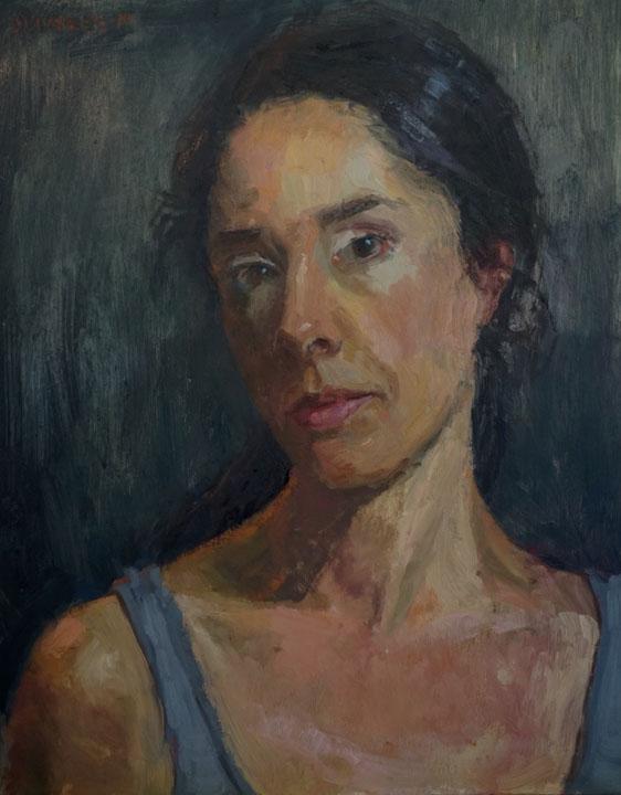"""Brooke Olivares  Portrait I  Oil on panel  18.75"""" x 15.75"""" framed"""