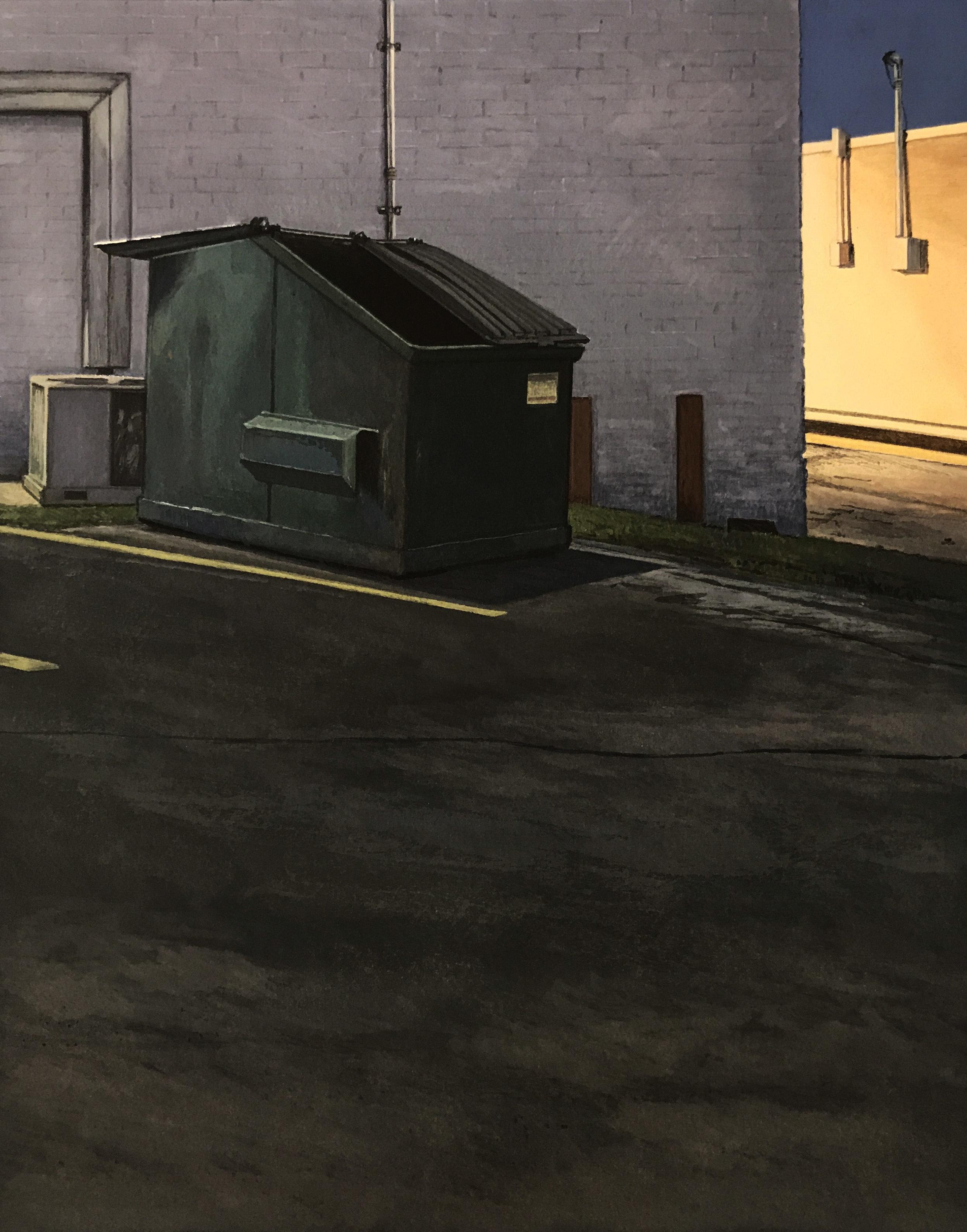 """Dumpster Nocturne ll  Gouache on paper  18 1/8"""" x 16 1/8"""" Framed"""