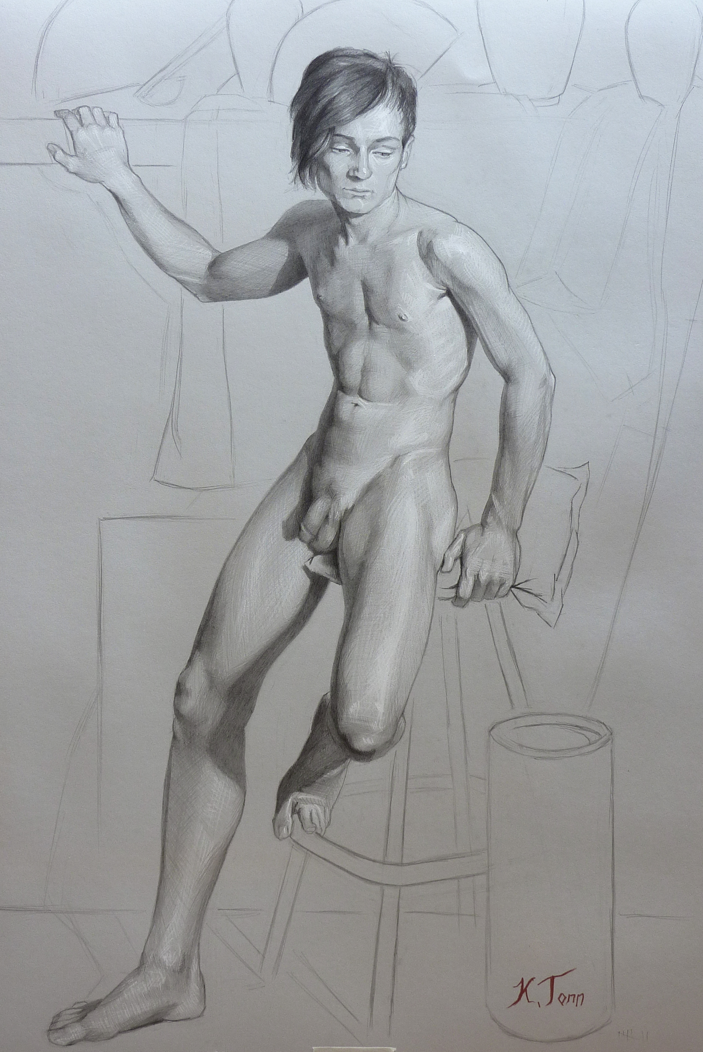 "Curtis Front Pose  Graphite on paper  22"" x 30"" unframed"