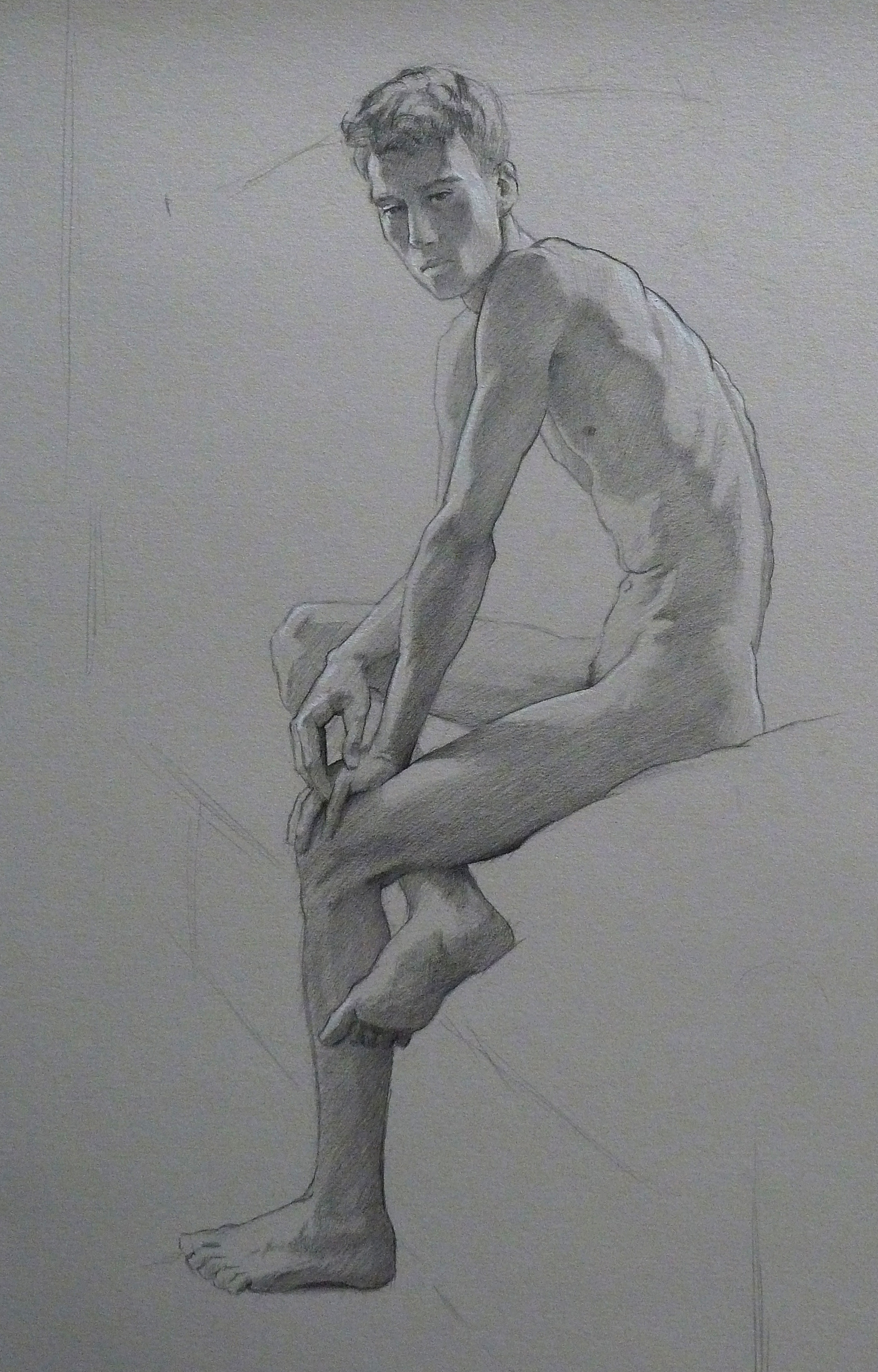 "Jared Seated  Graphite on paper  23"" x 18"", unframed"