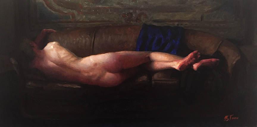 "Spencer Reclining  Oil on panel  14"" x 26"""