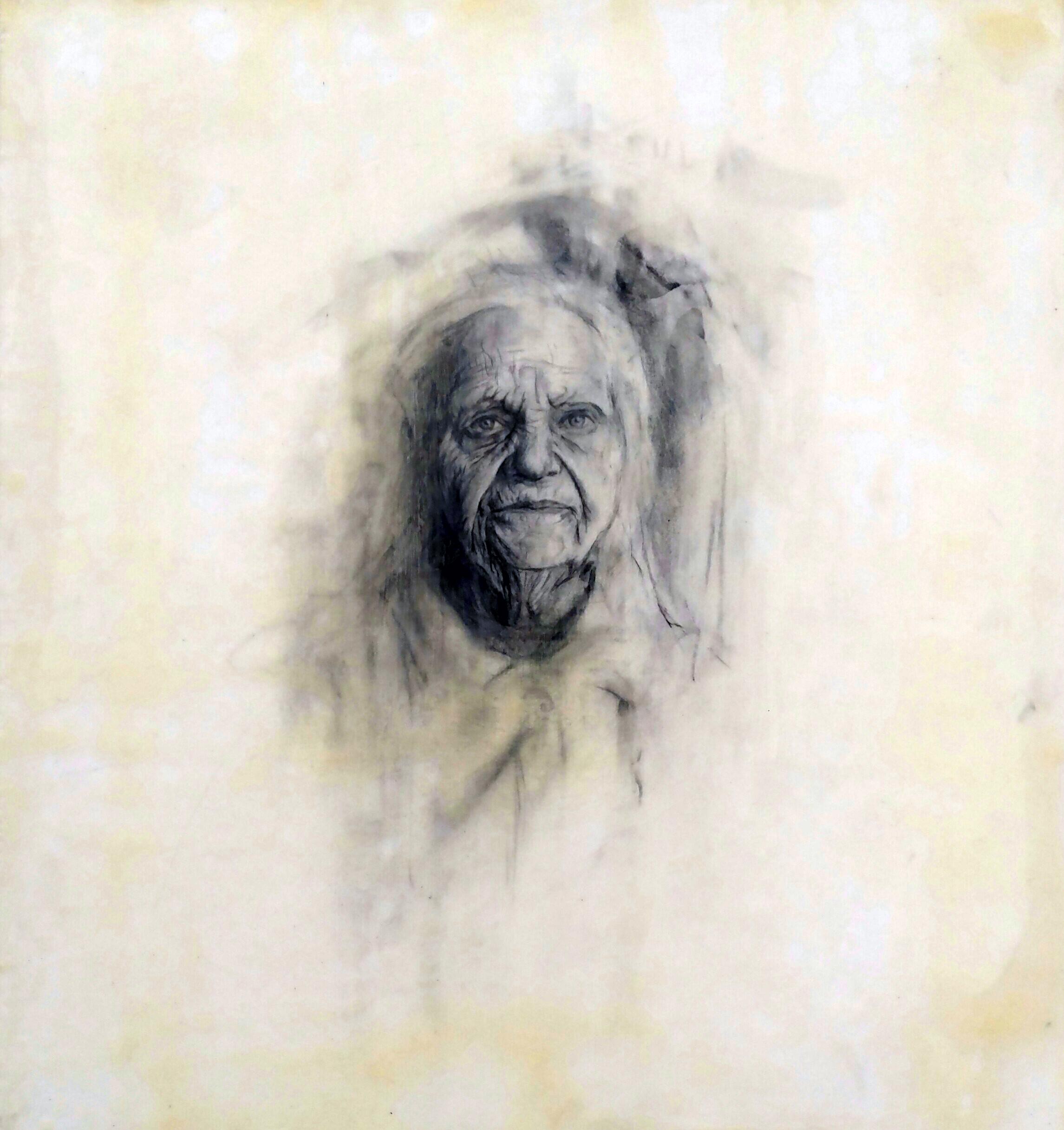 "Nick Reszetar  100 Days of Portraits  Mixed media on mylar  16"" x 15"""