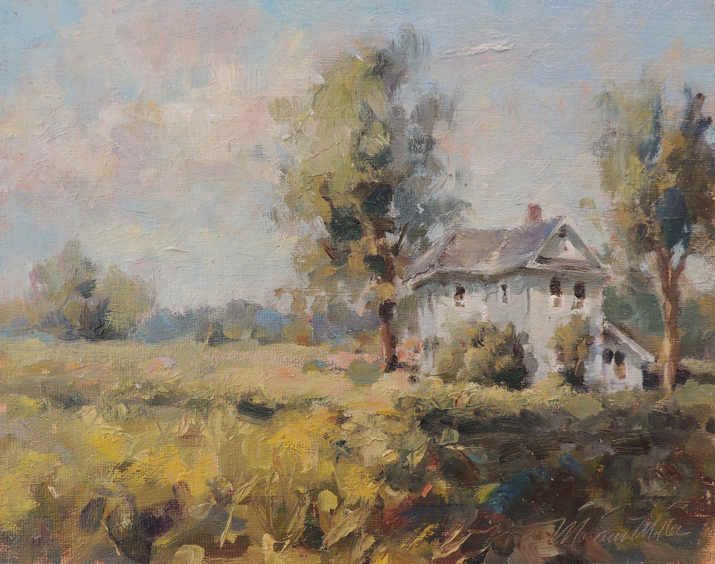 "Deserted Farmhouse  Oil on panel  8"" x 10"""