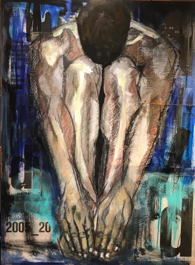 """Male Blue Nude  Mixed media on panel  48"""" x 36"""""""