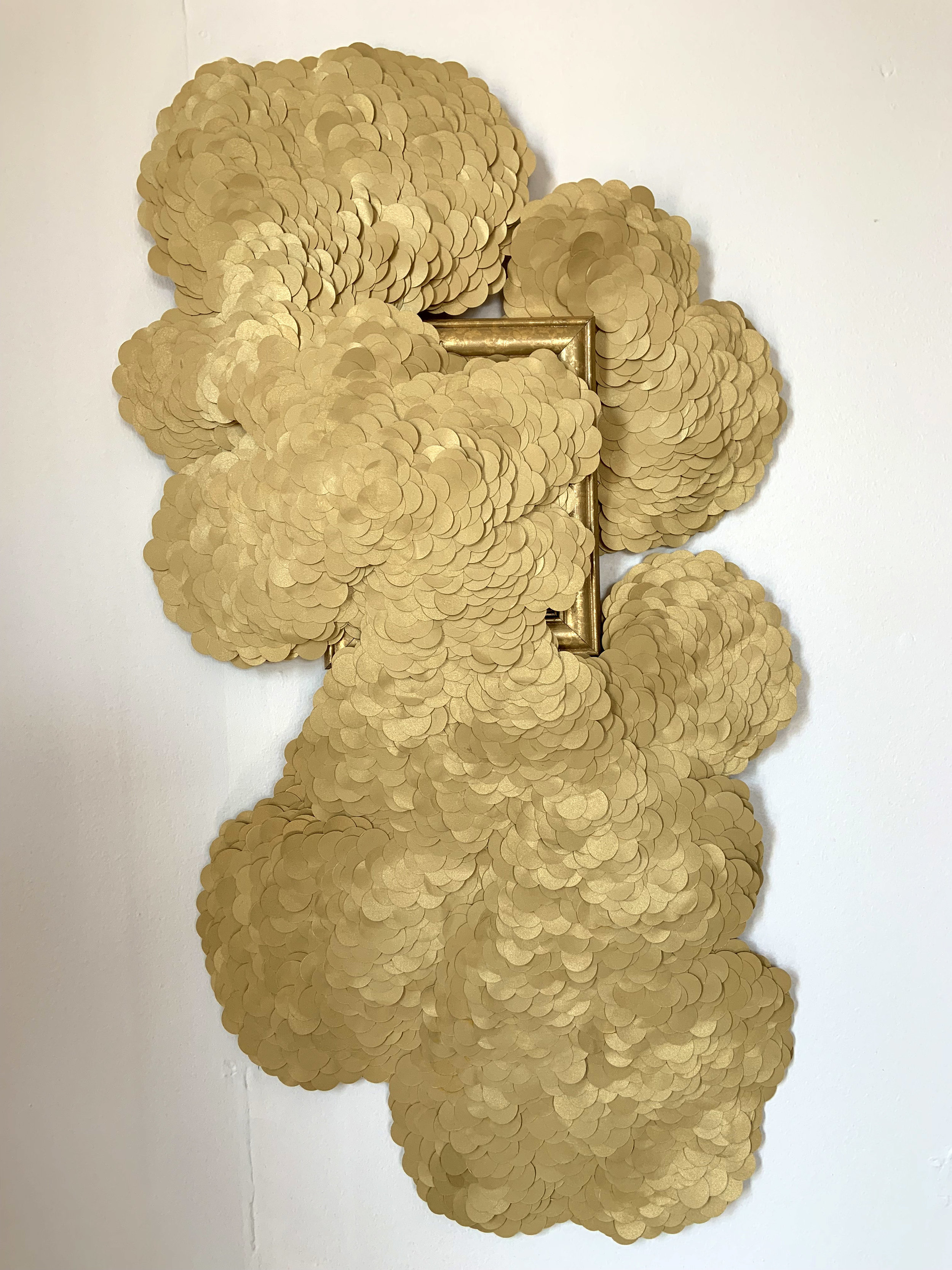 "Julie Abijanac  Accretion  Paper, glue, frame  26"" x 16"" x 2"""