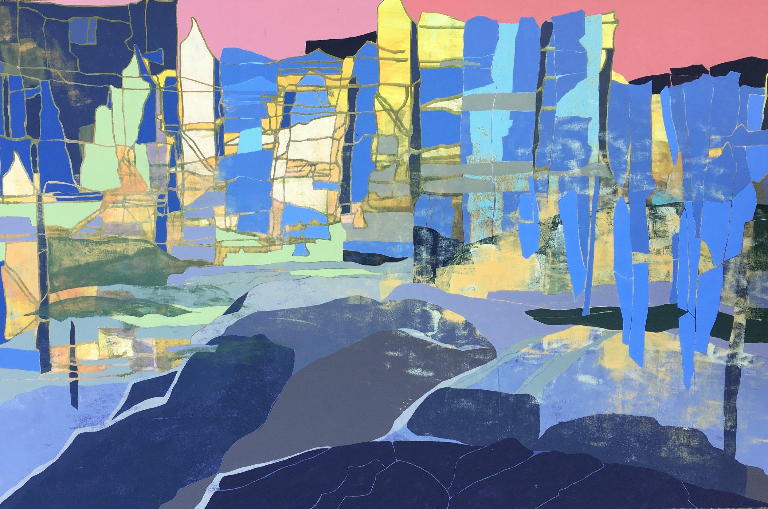 "Memory Cliff  Acrylic on panel  24"" x 36"""