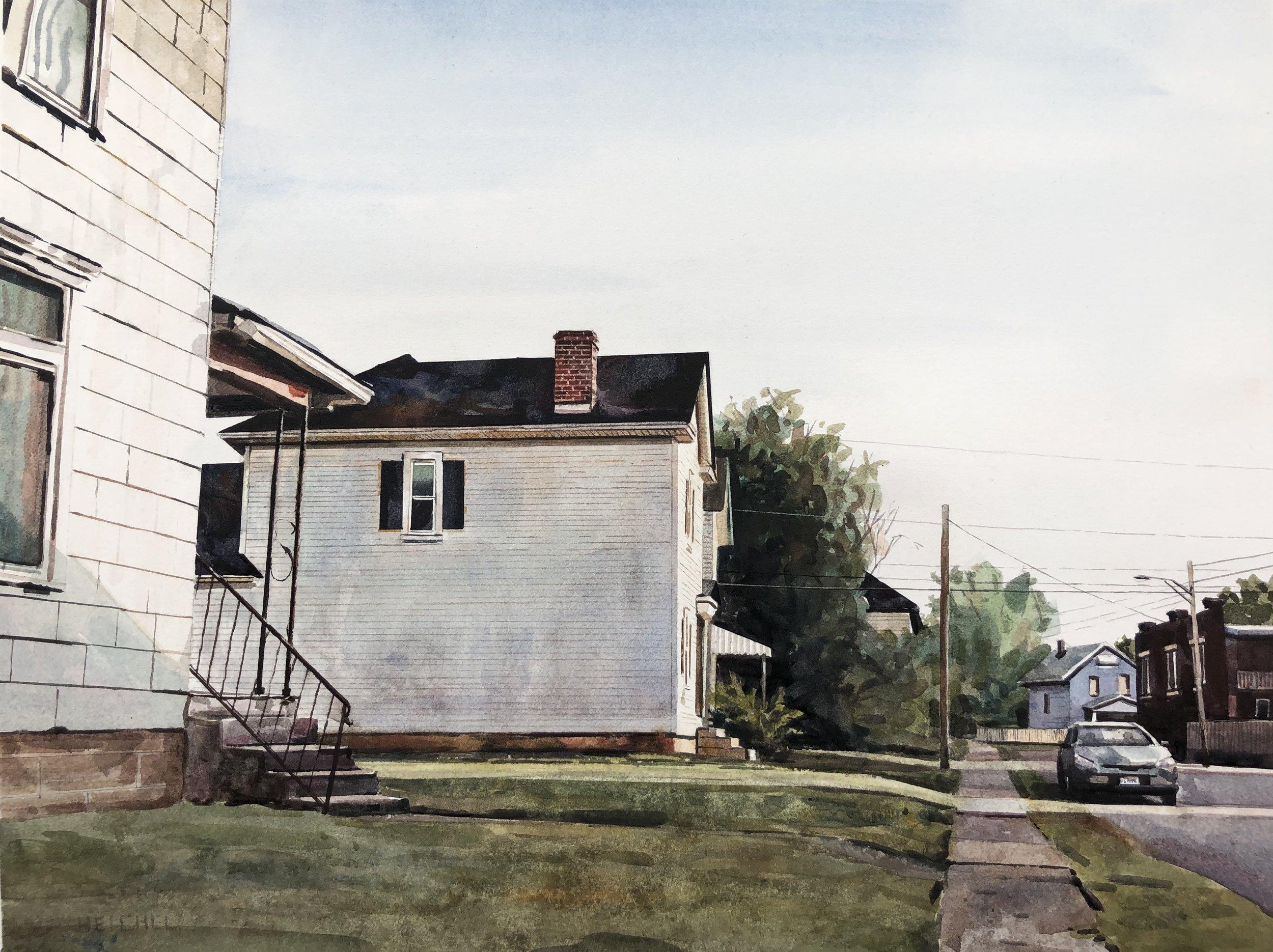 "Morning Light, Burt Street  Watercolor on paper  19  1/4"" x 25 1/4""  framed"