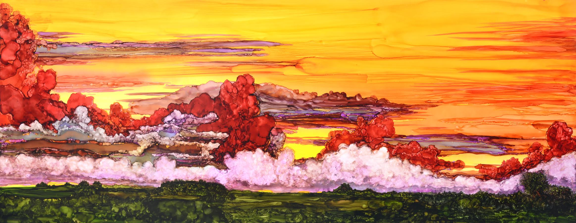 """Ignore the Red Clouds  Alcohol ink on digital styrene  20"""" x 50"""""""