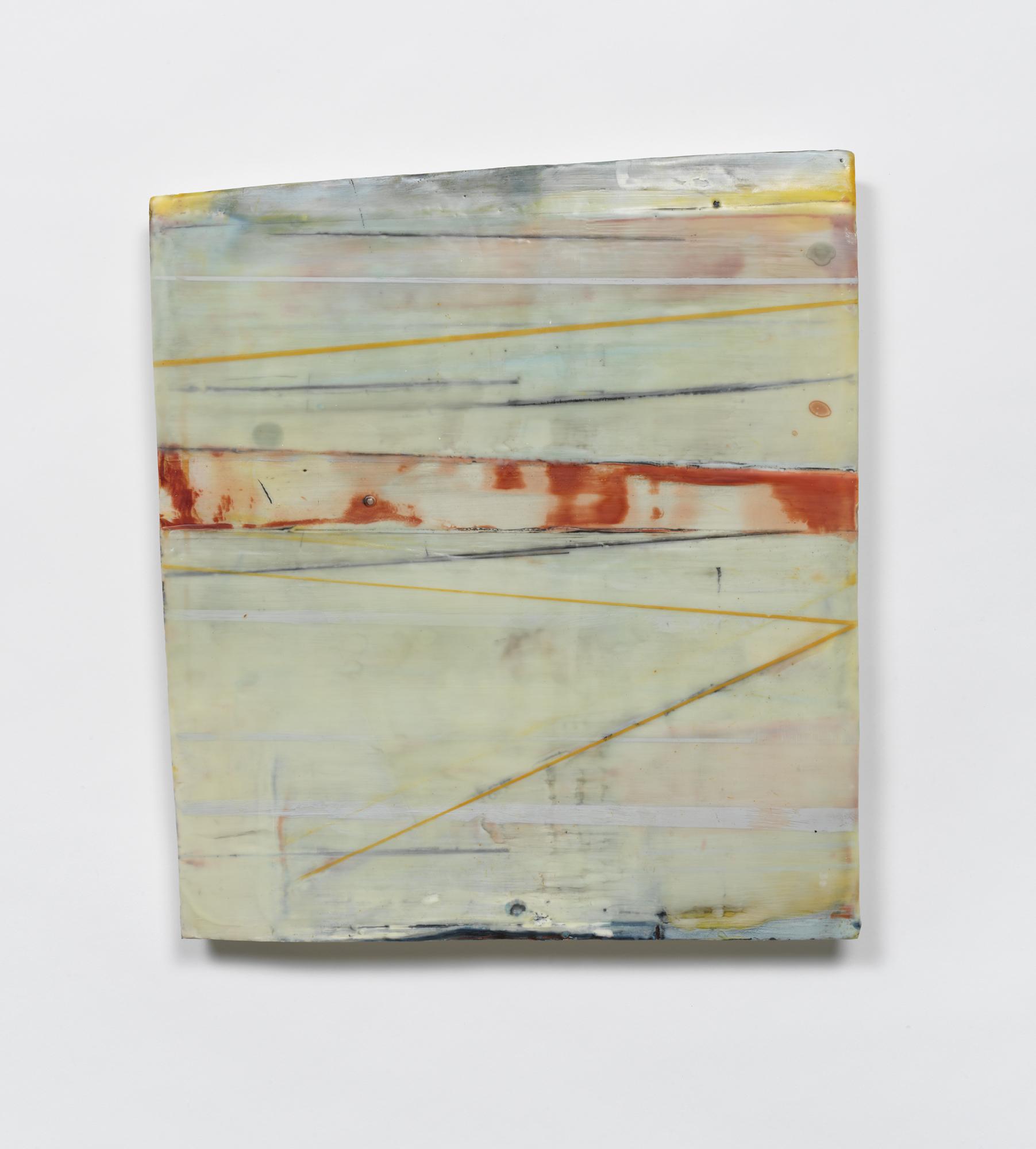 """Concrete Passage  Encaustic & oil on shaped panel  21"""" x 19"""""""