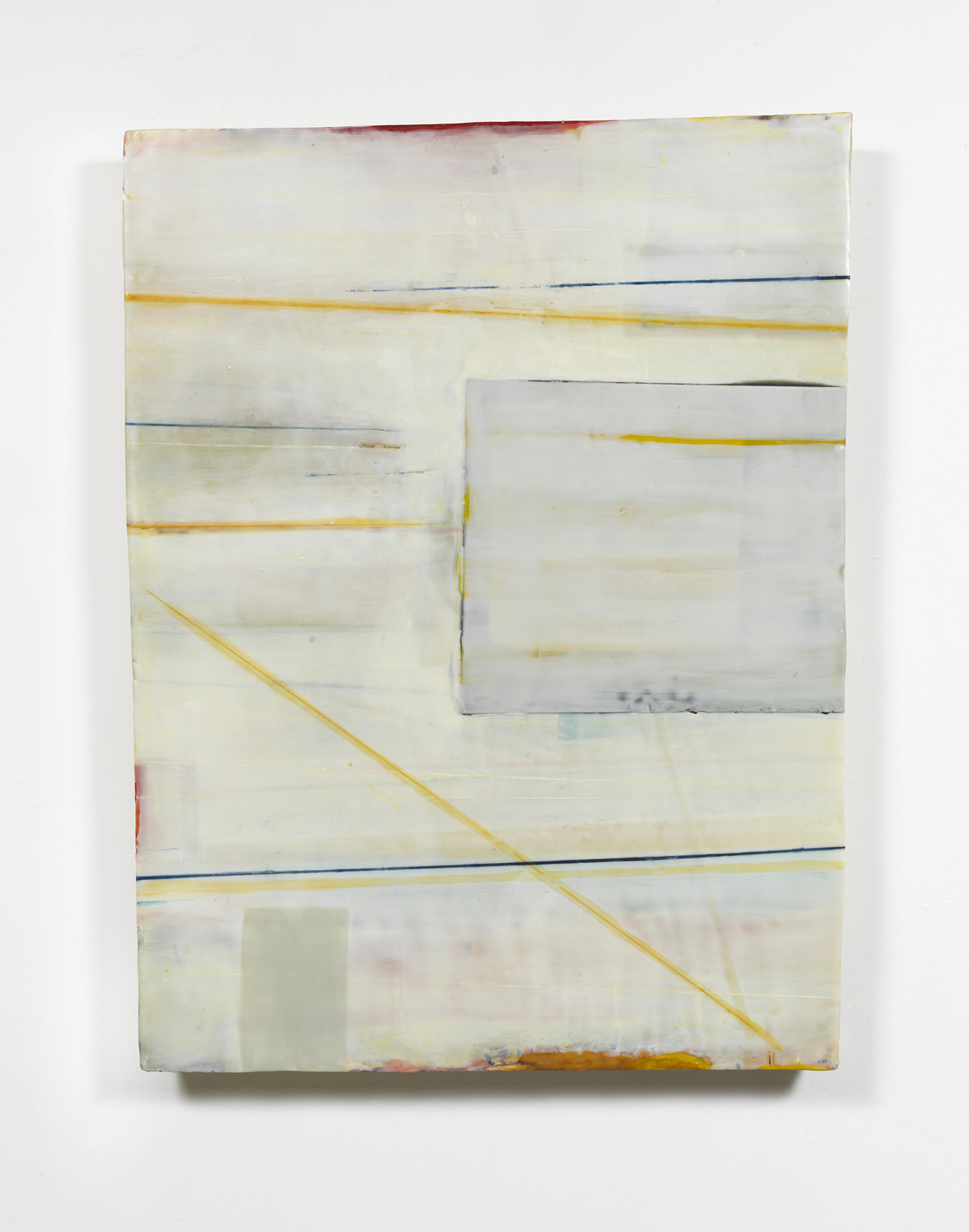 """Structure Obscura  Encaustic & oil on shaped panel  40"""" x 30"""""""