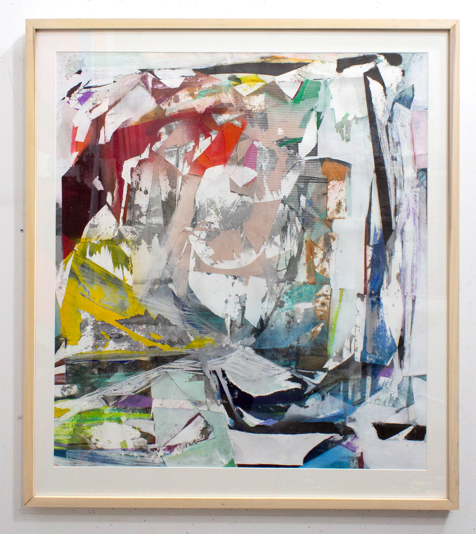 """We Forget the Spaciousness Above the Clouds  Acrylic, pastel, spray paint, collage, décollage on paper  37"""" x 33"""" framed"""