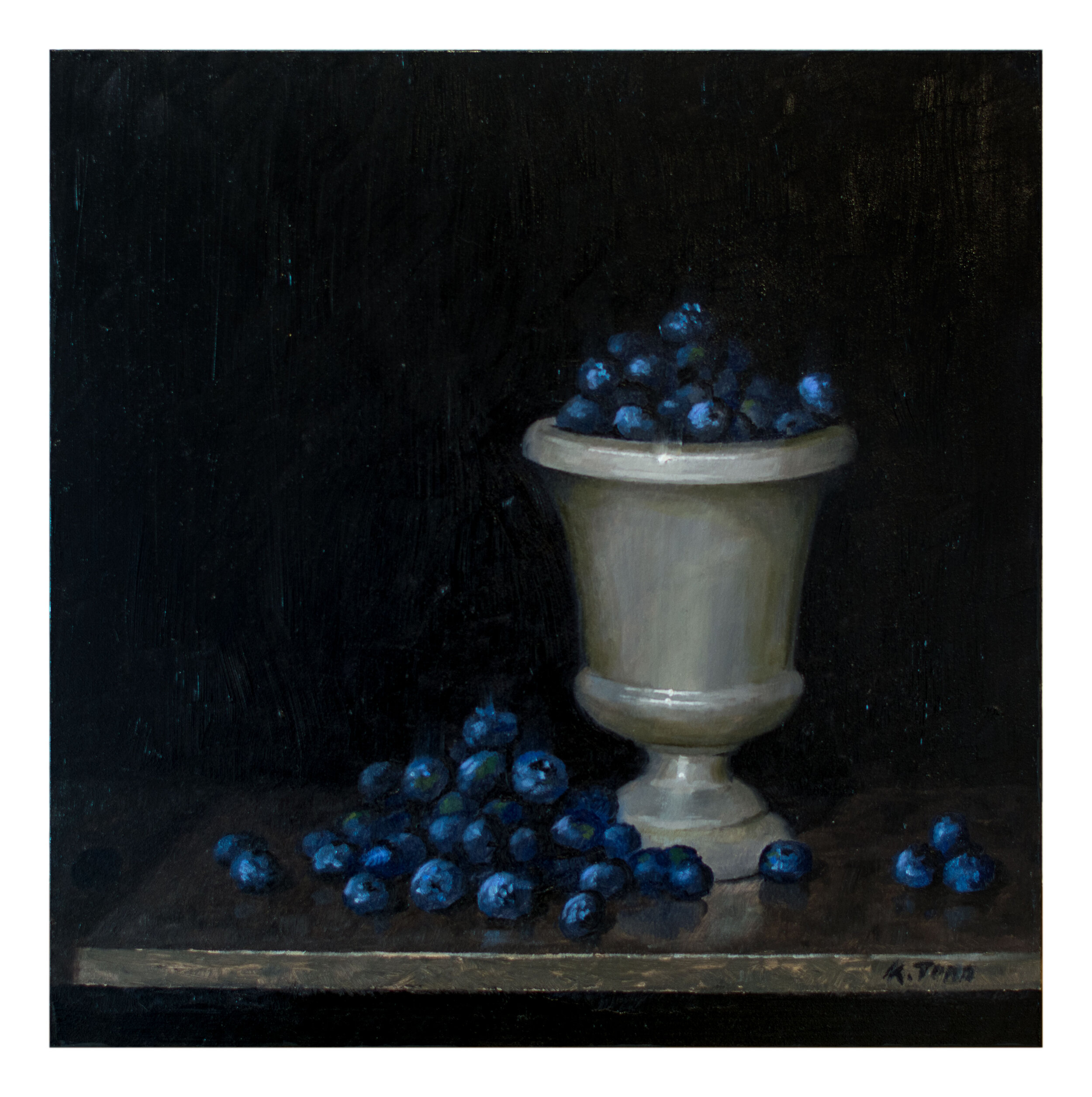 "Blueberries  Oil on panel  12"" x 12"""
