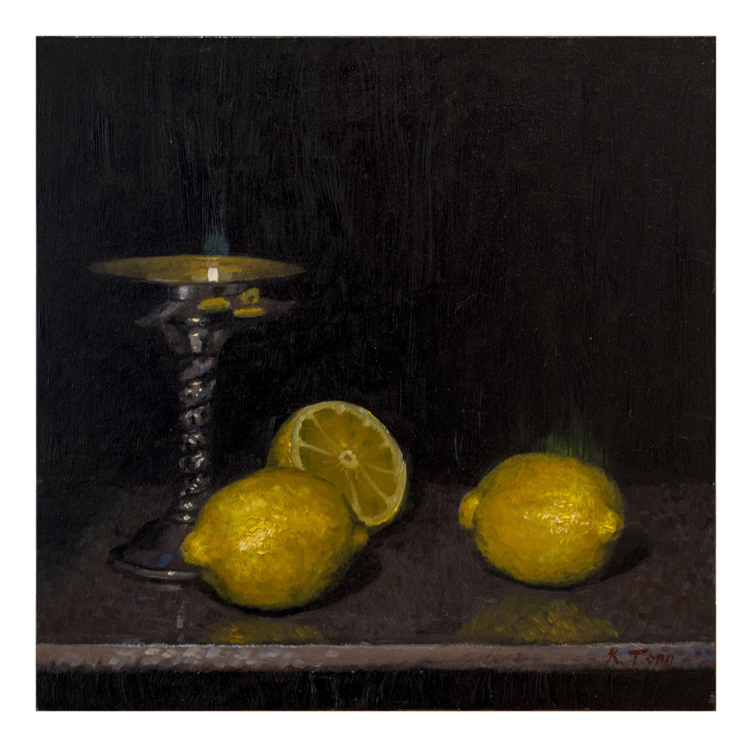 """Lemons  Oil on panel  12"""" x 12"""""""